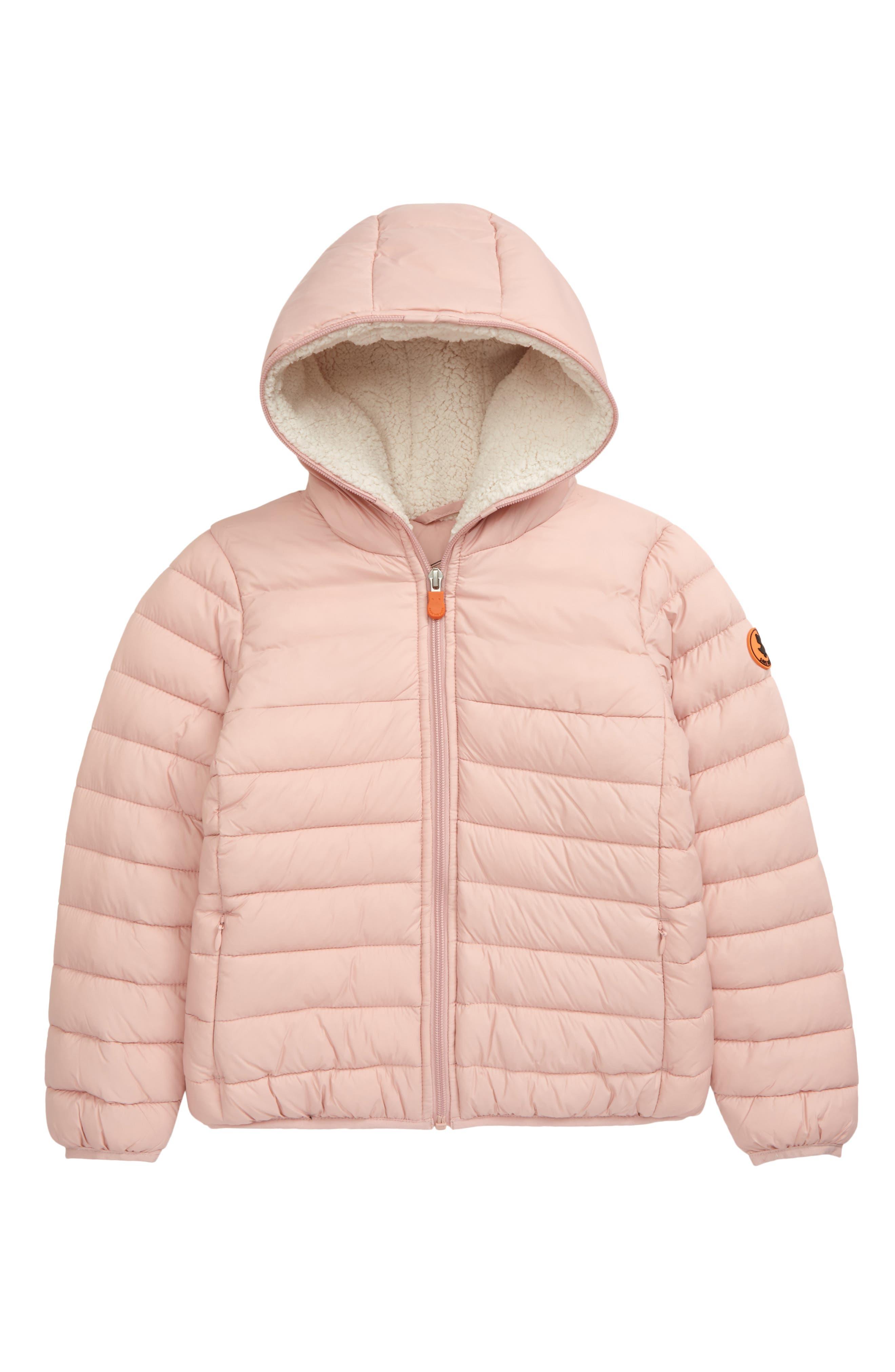 Girls Heavy Lined Light Pink Hooded Coat Jacket NEW Sizes 4-14 years Khaki