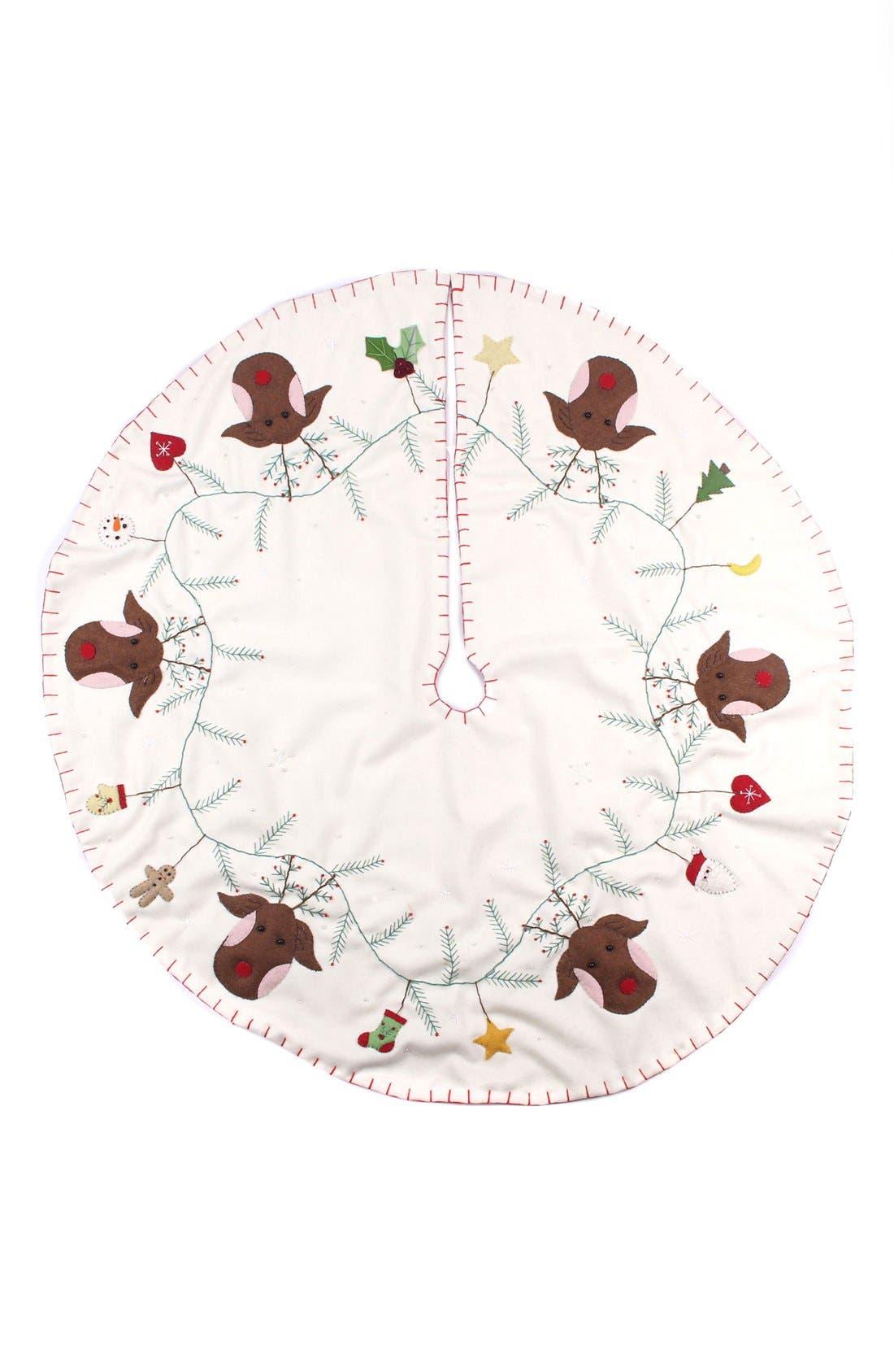 Reindeer Tree Skirt,                         Main,                         color, Cream Multi