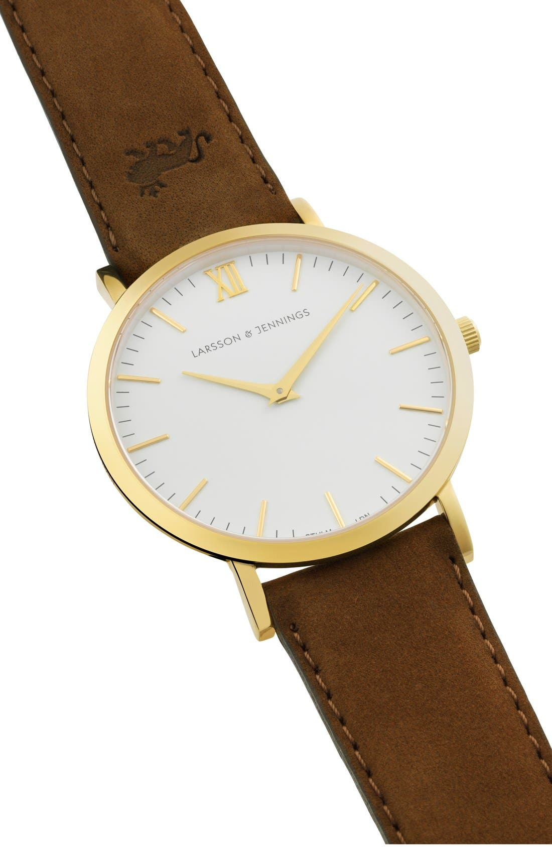 'Lugano' Leather Strap Watch, 40mm,                             Alternate thumbnail 4, color,                             Brown/ White/ Gold