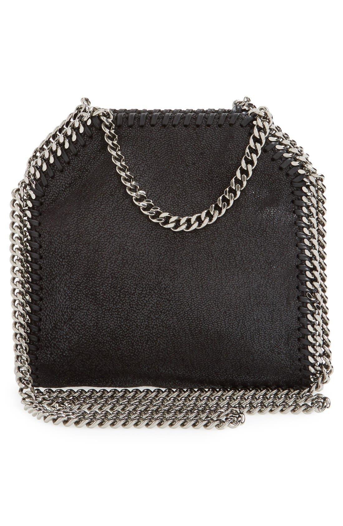 'Tiny Falabella' Faux Leather Crossbody Bag,                             Alternate thumbnail 3, color,                             Black