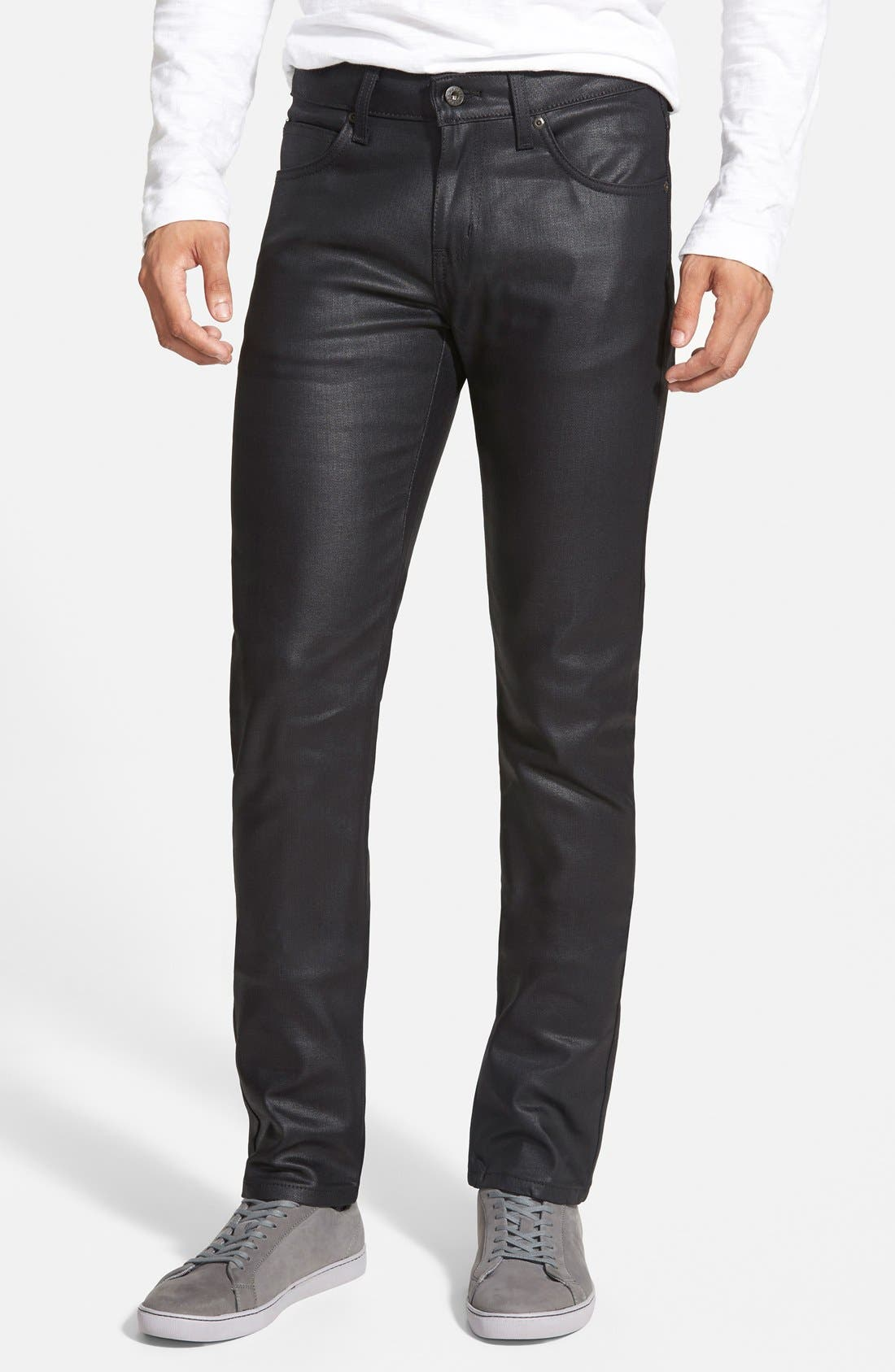 Alternate Image 1 Selected - Naked & Famous Denim Super Skinny Guy Skinny Stretch Jeans (Black)
