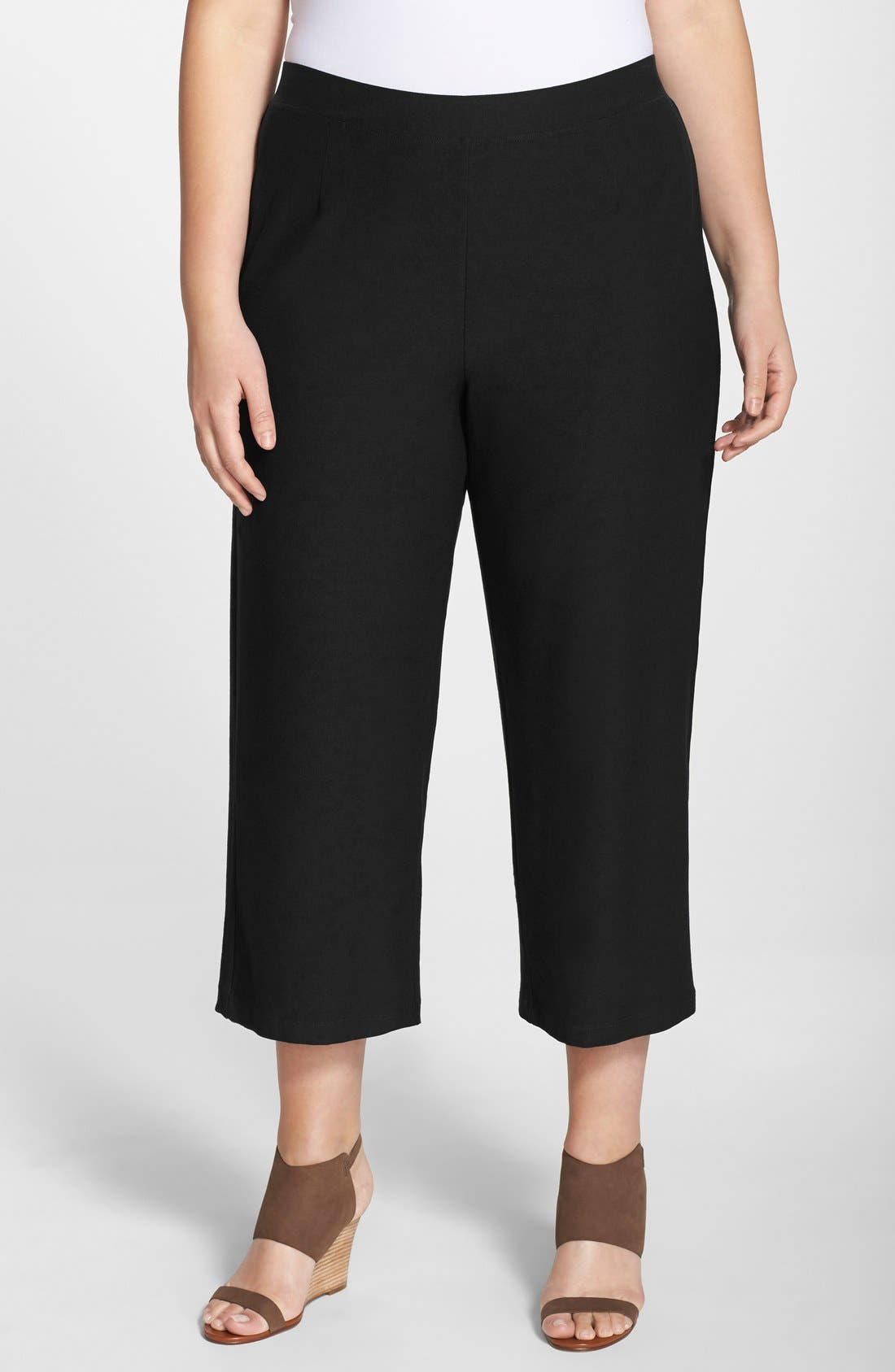 Alternate Image 1 Selected - Eileen Fisher Wide Leg Washable Stretch Crepe Crop Pants (Plus Size)