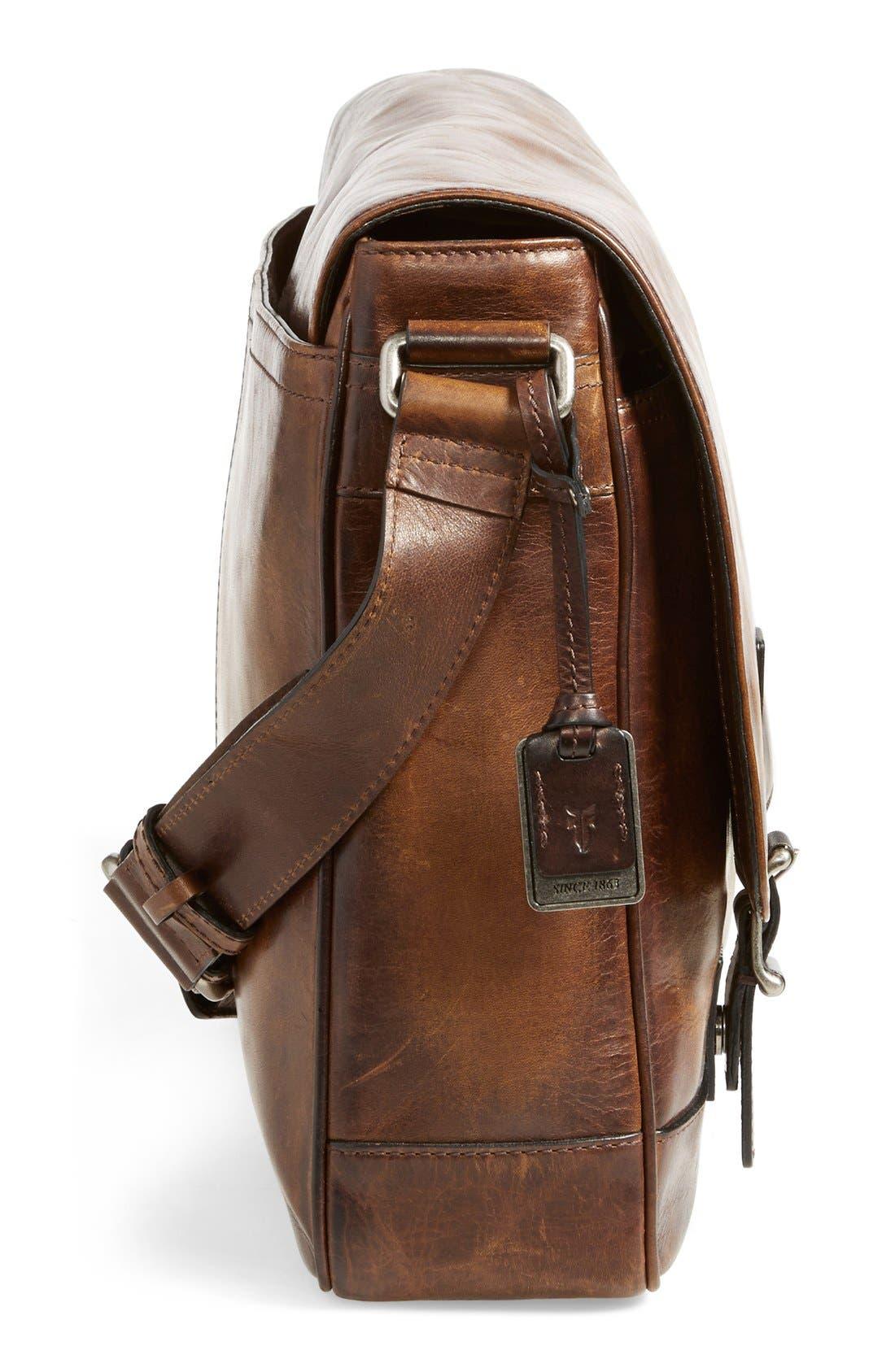 'Oliver' Leather Messenger Bag,                             Alternate thumbnail 5, color,                             Dark Brown