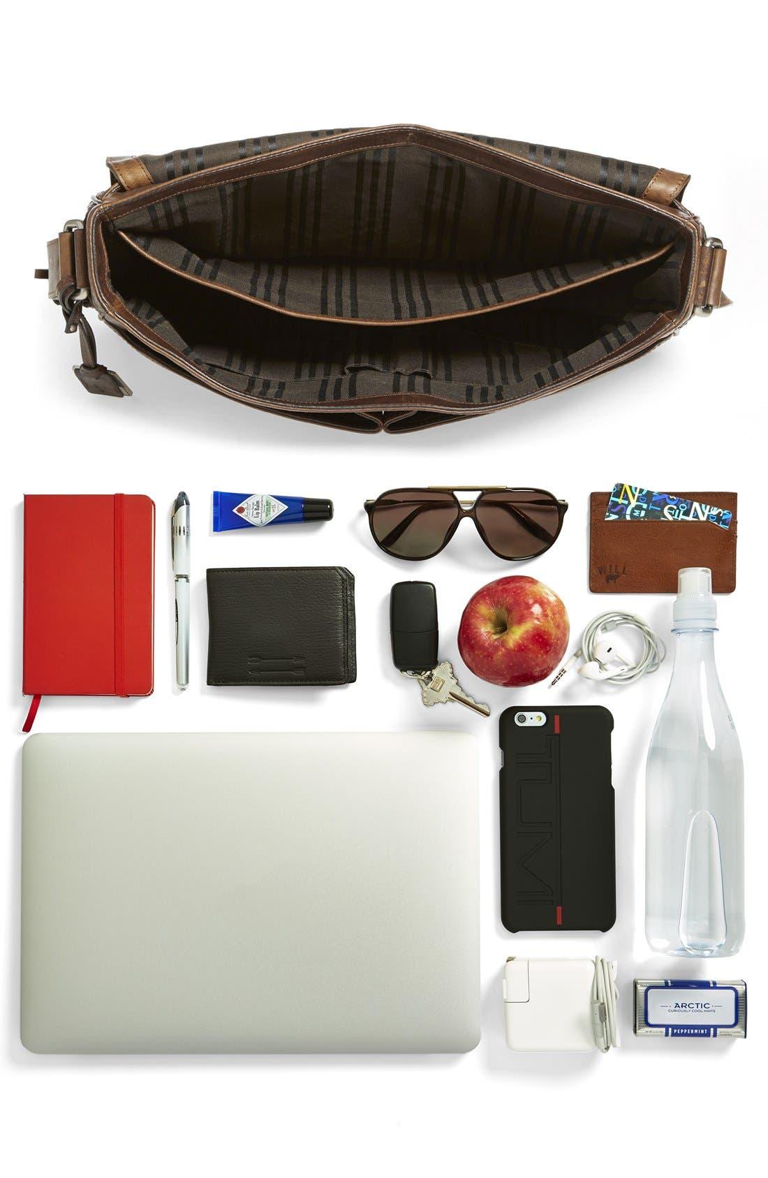 'Oliver' Leather Messenger Bag,                             Alternate thumbnail 8, color,                             Dark Brown