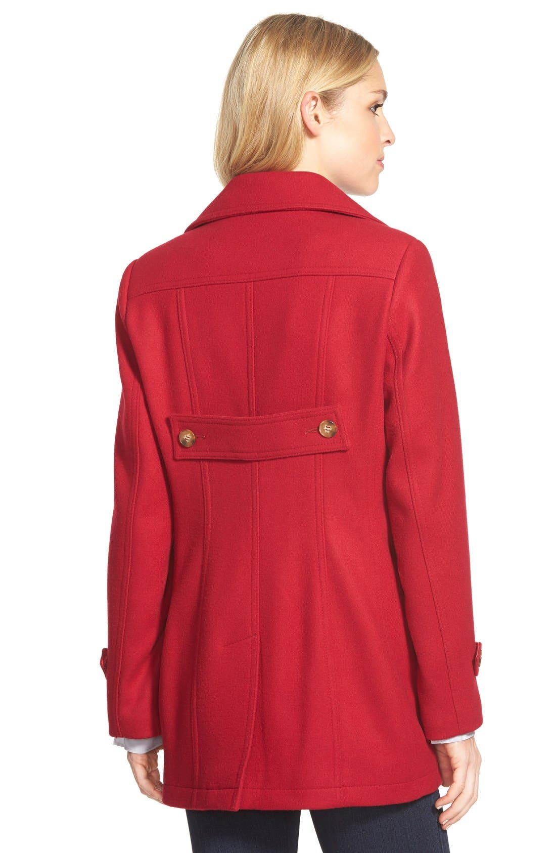 Alternate Image 2  - Kristen Blake Wool Blend Peacoat (Regular & Petite)