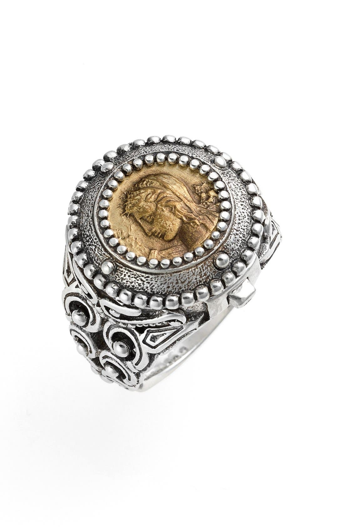 'Arethusa' Hinged Coin Ring,                             Main thumbnail 1, color,                             Silver/ Bronze