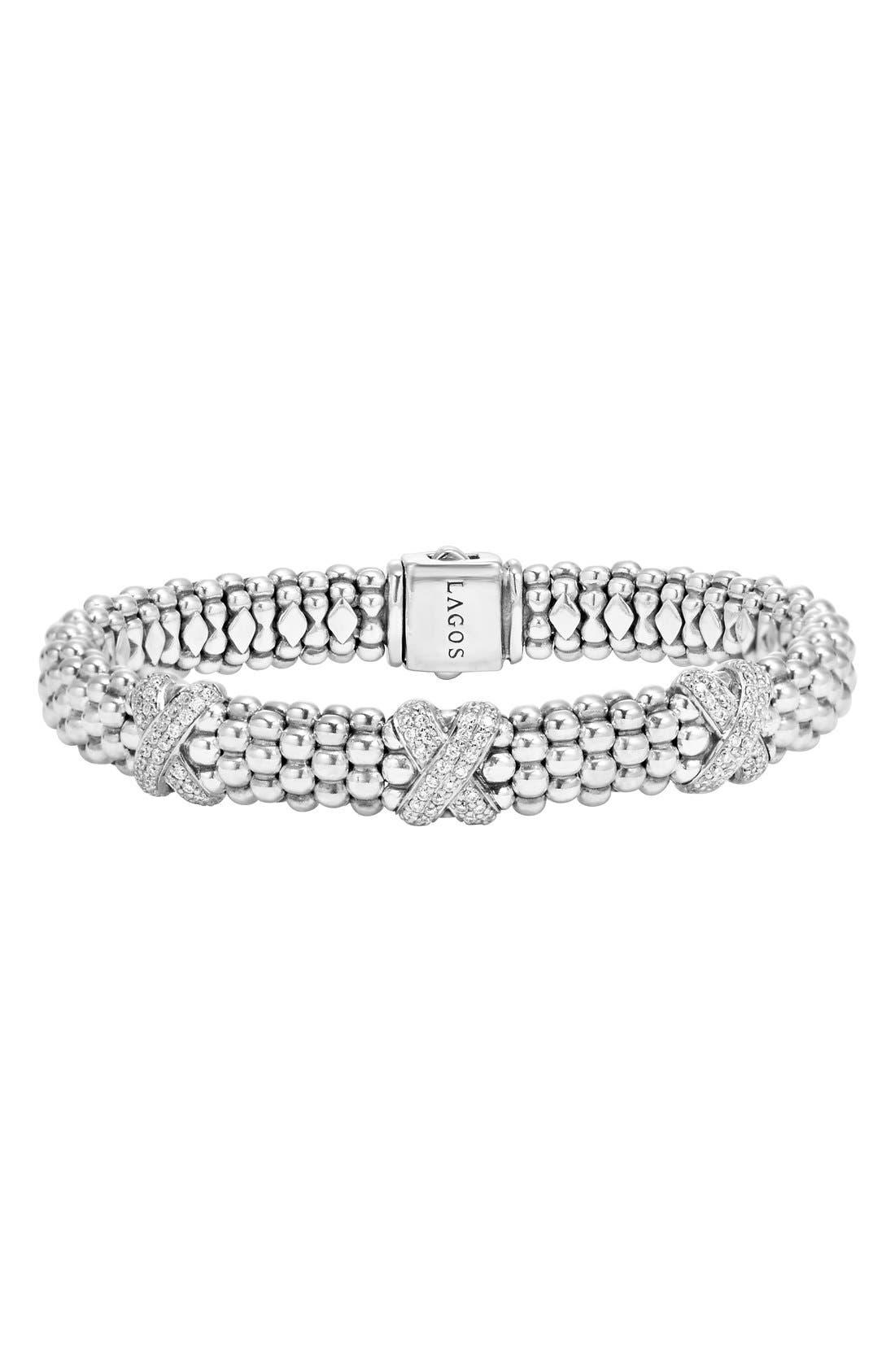 Main Image - LAGOS 'X' Diamond Caviar Rope Bracelet
