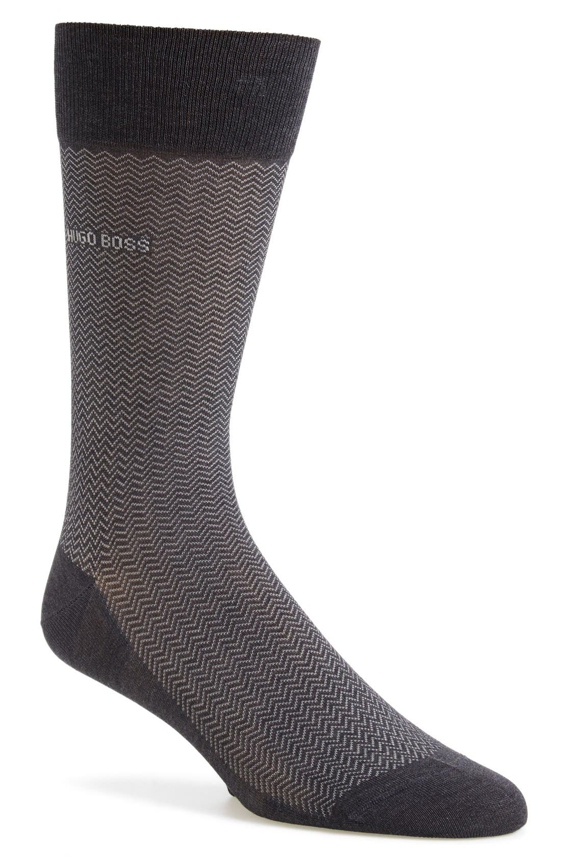 'David' Herringbone Socks,                             Main thumbnail 1, color,                             Charcoal