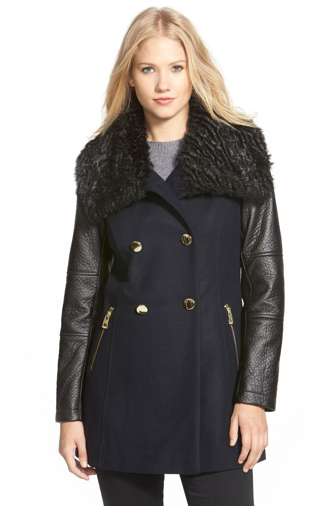 Alternate Image 1 Selected - GUESS Double Breasted Wool Blend Coat with Faux Fur & Faux Leather Trim