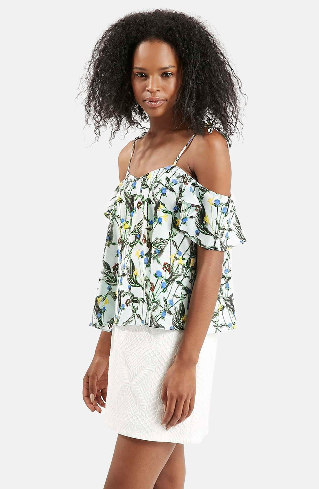 Wild Flower Print Bardot Top,                         Main,                         color, White Multi