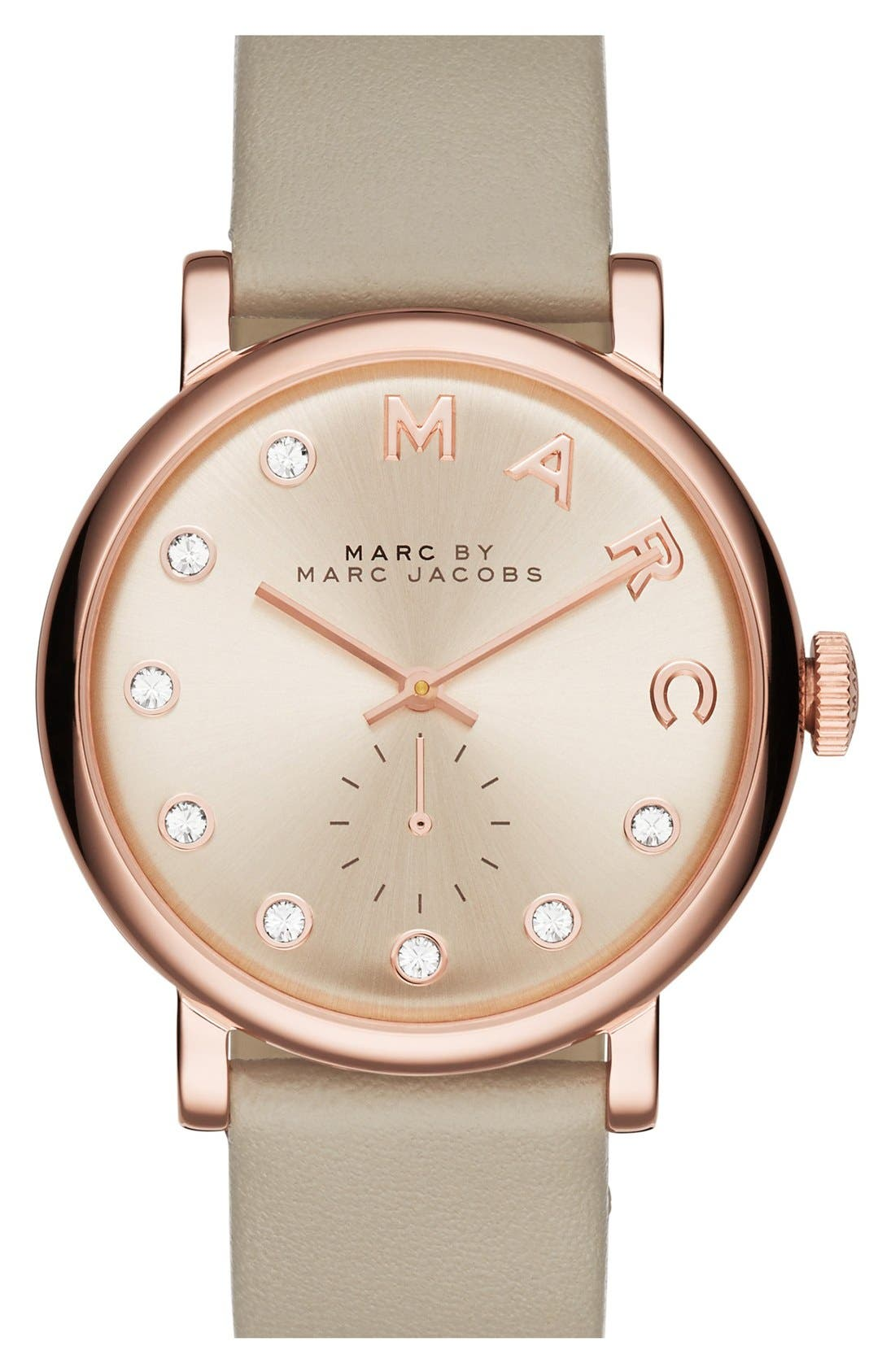 Main Image - MARC JACOBS 'Baker' Crystal Index Leather Strap Watch, 36mm