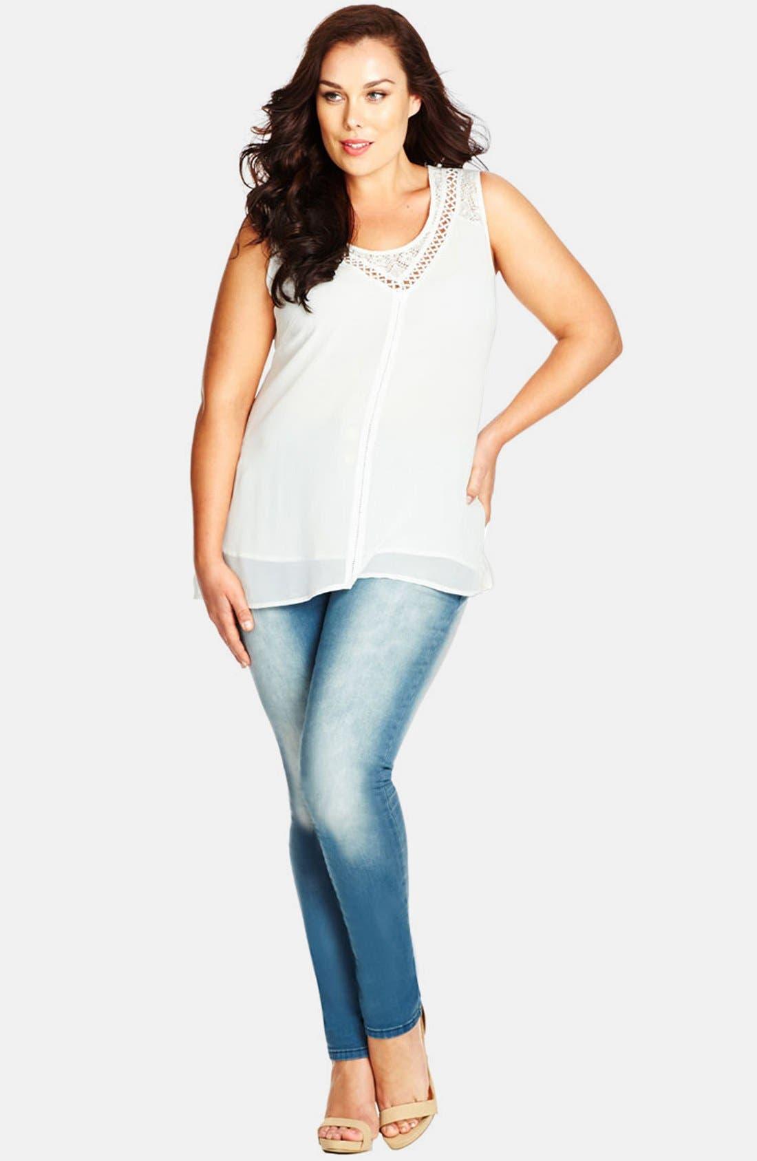 Alternate Image 3  - City Chic 'Apple' Stretch Skinny Jeans (Light Denim) (Plus Size)