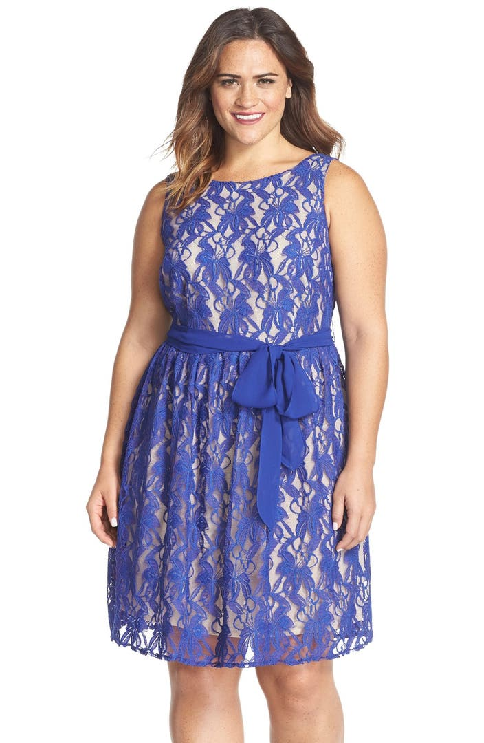 Gabby Skye Belted Lace Fit Amp Flare Dress Plus Size