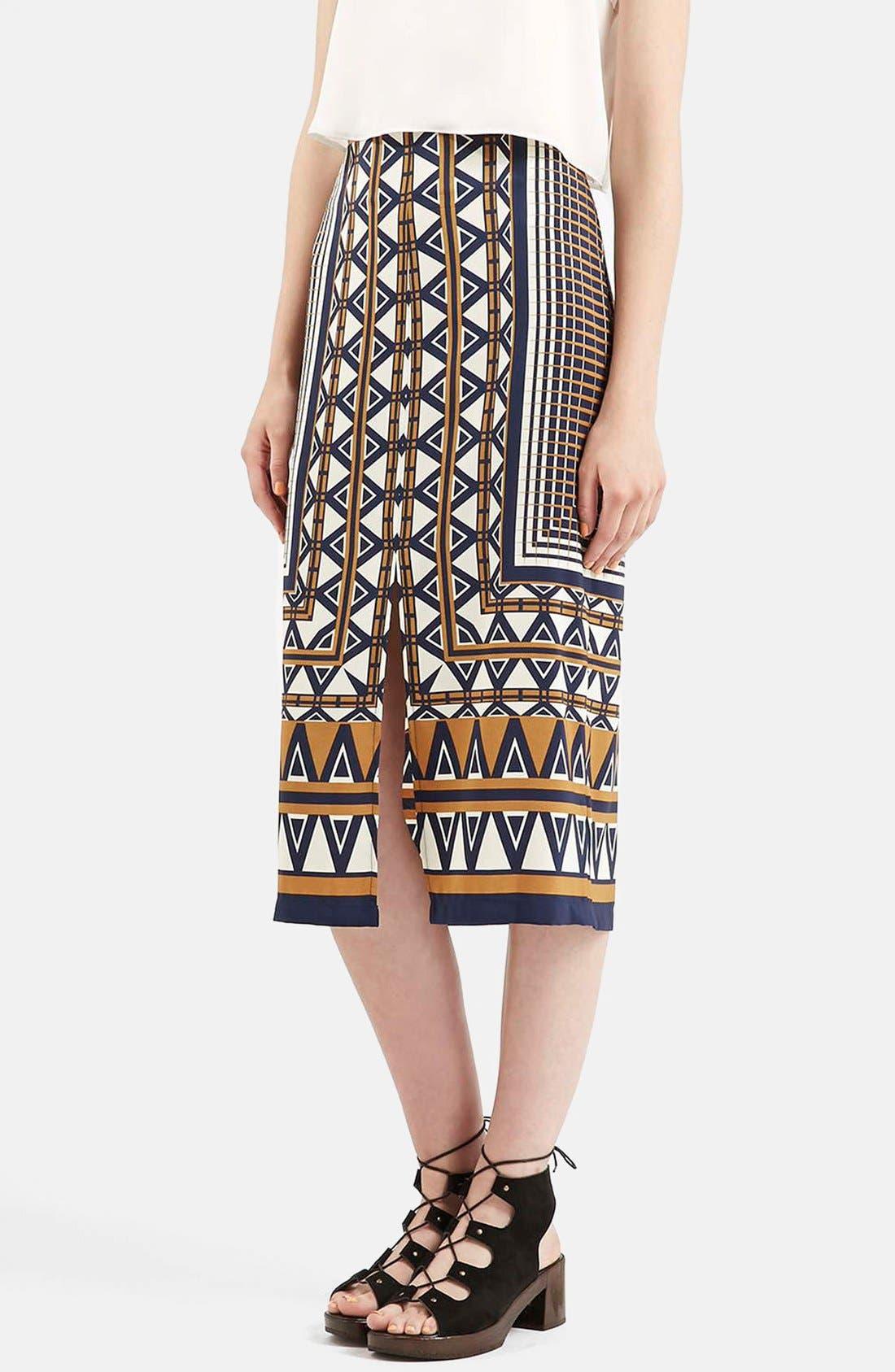 Main Image - Topshop Print Midi Skirt