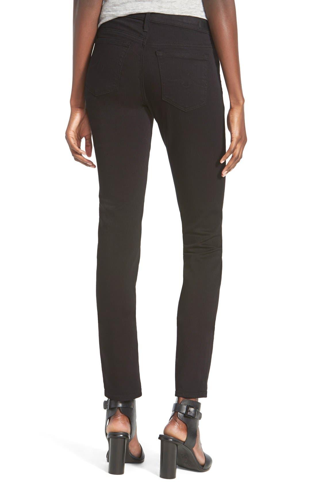 Alternate Image 2  - AG 'Stilt Cigarette' Skinny Jeans (Super Black)