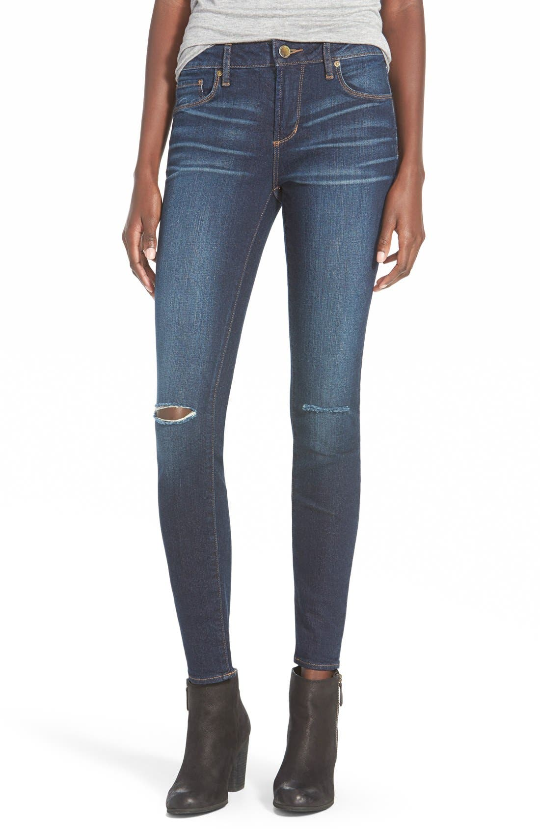 Alternate Image 1 Selected - Articles of Society Red Label 'Soho' Distressed Skinny Jeans (Pure)