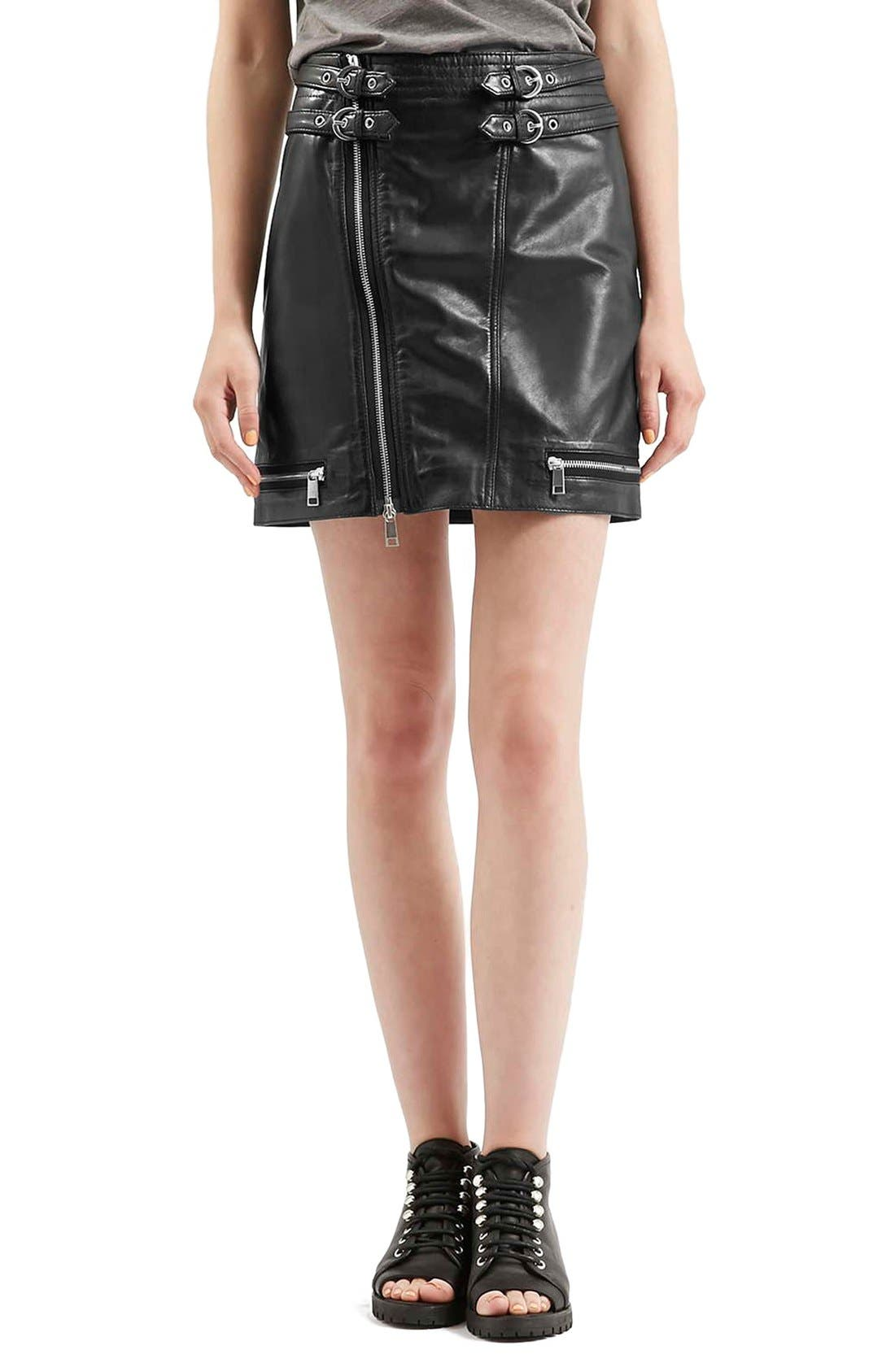 Alternate Image 1 Selected - Topshop Zip Leather Miniskirt