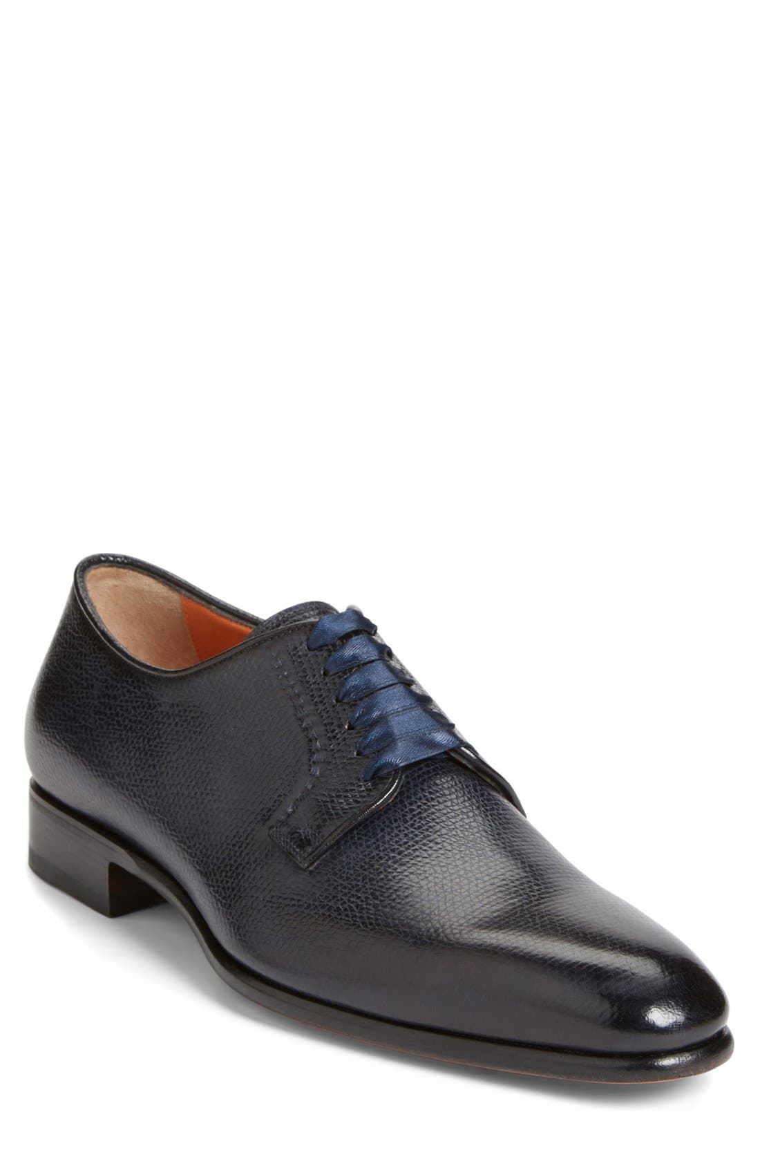 'Chelsey' Plain Toe Oxford,                             Main thumbnail 1, color,                             Navy Leather