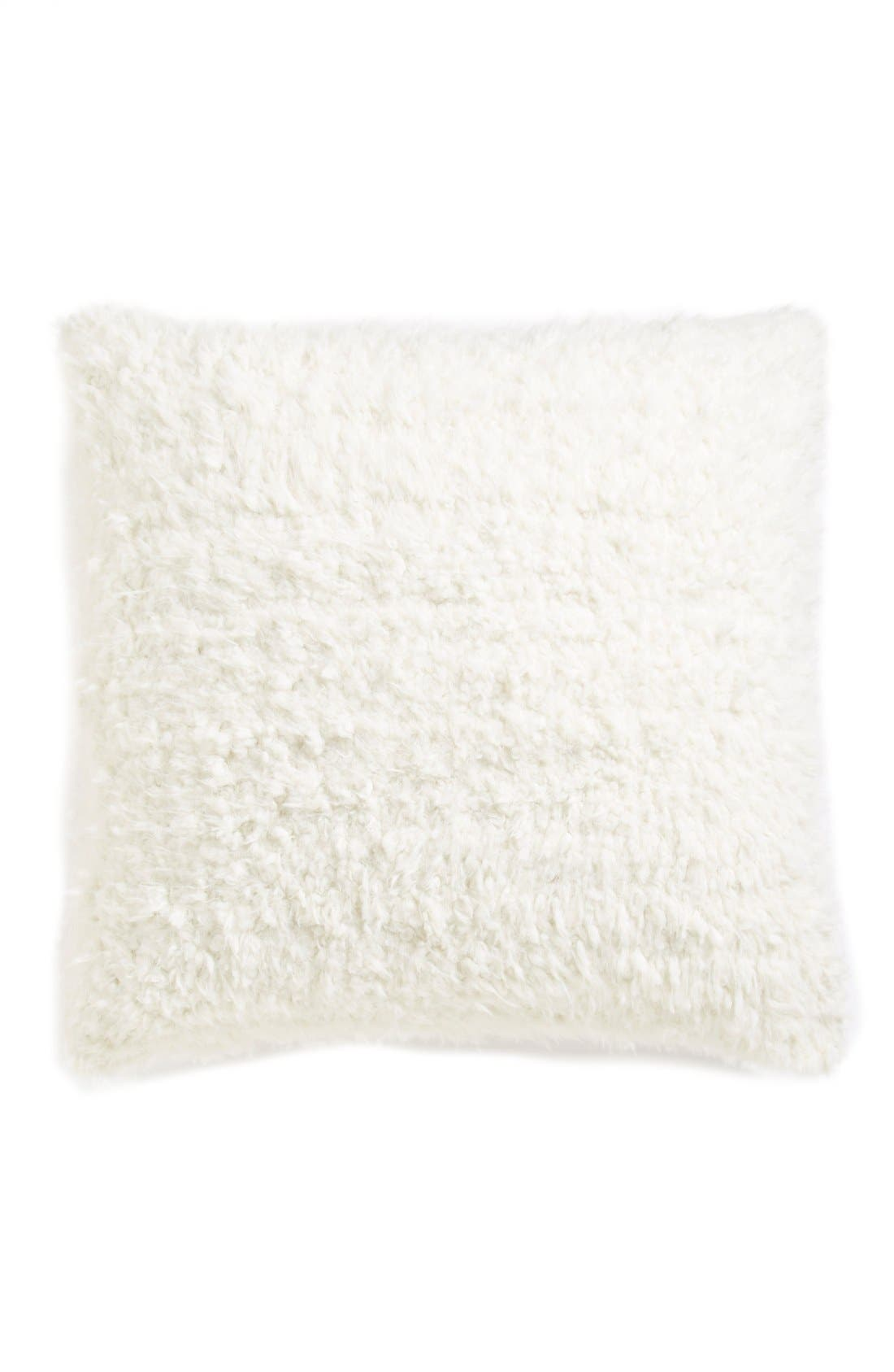 Shaggy Plush Pillow,                         Main,                         color, Ivory