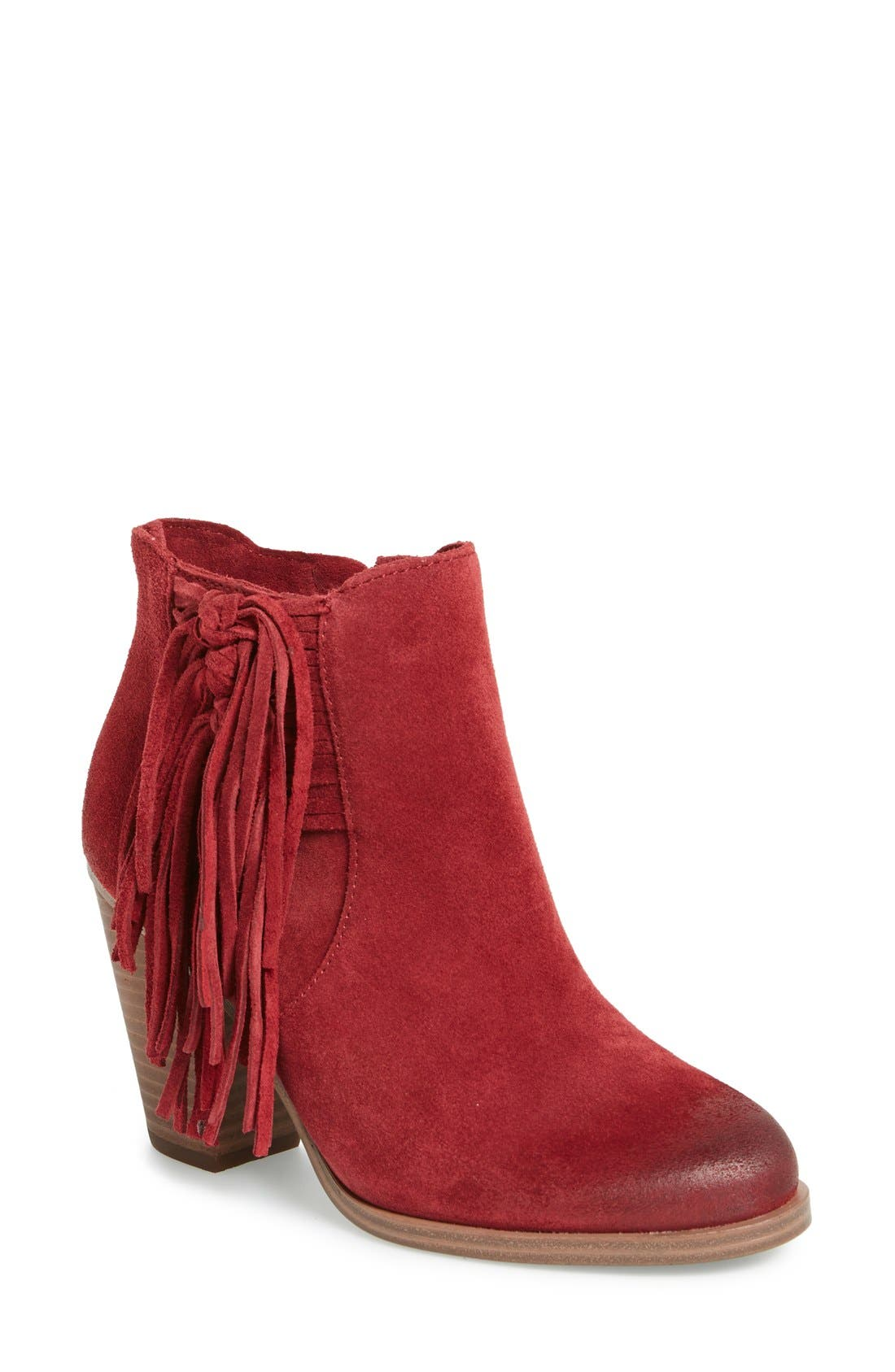 'Harlin' Fringe Bootie,                             Main thumbnail 1, color,                             Chianti Suede