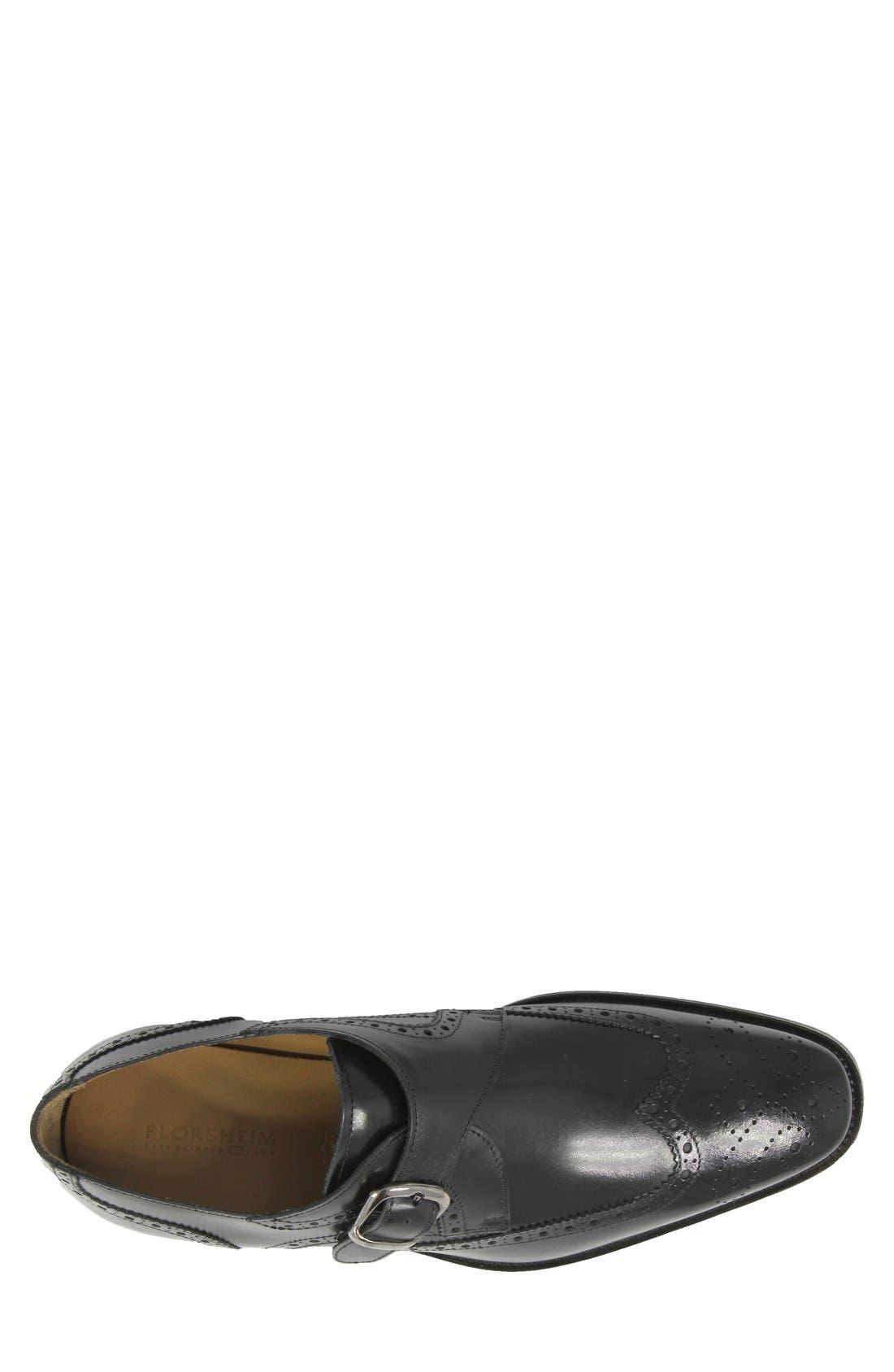 'Sabato' Wingtip Monk Strap Shoe,                             Alternate thumbnail 3, color,                             Black
