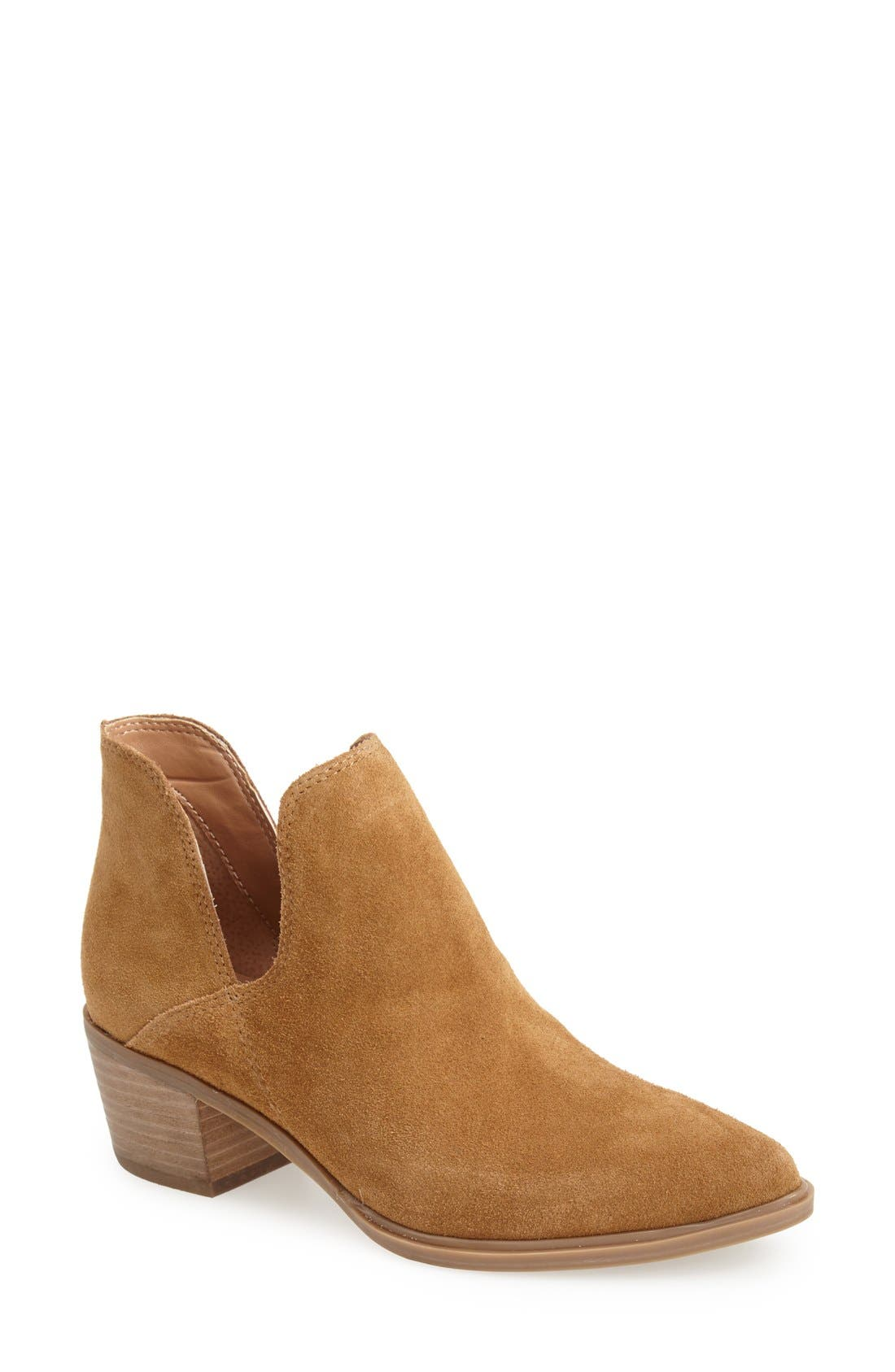 'Dextir' Pointy Toe Ankle Bootie,                             Main thumbnail 1, color,                             Camel Suede