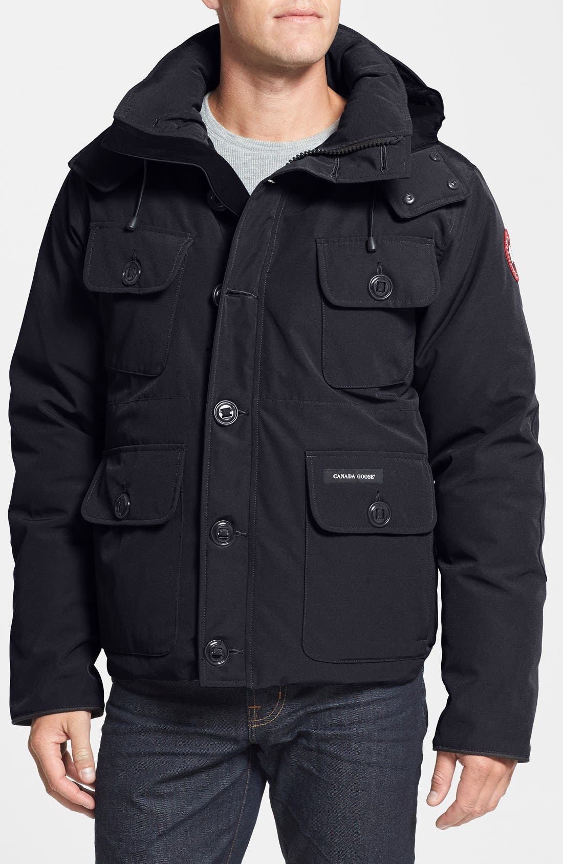 'Selkirk' Slim Fit Water Resistant Down Parka with Detachable Hood,                             Main thumbnail 1, color,                             Black