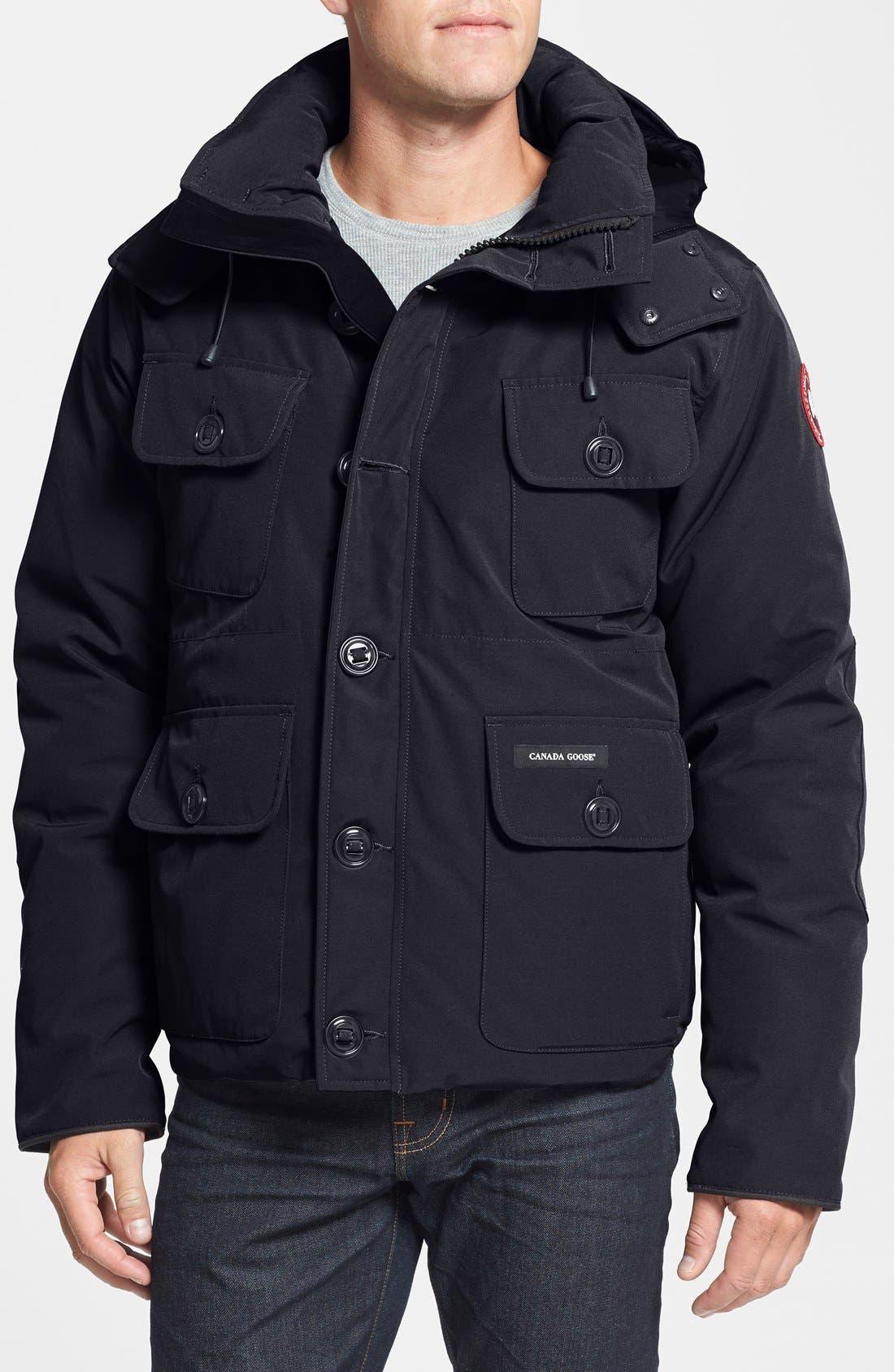 'Selkirk' Slim Fit Water Resistant Down Parka with Detachable Hood,                         Main,                         color, Black