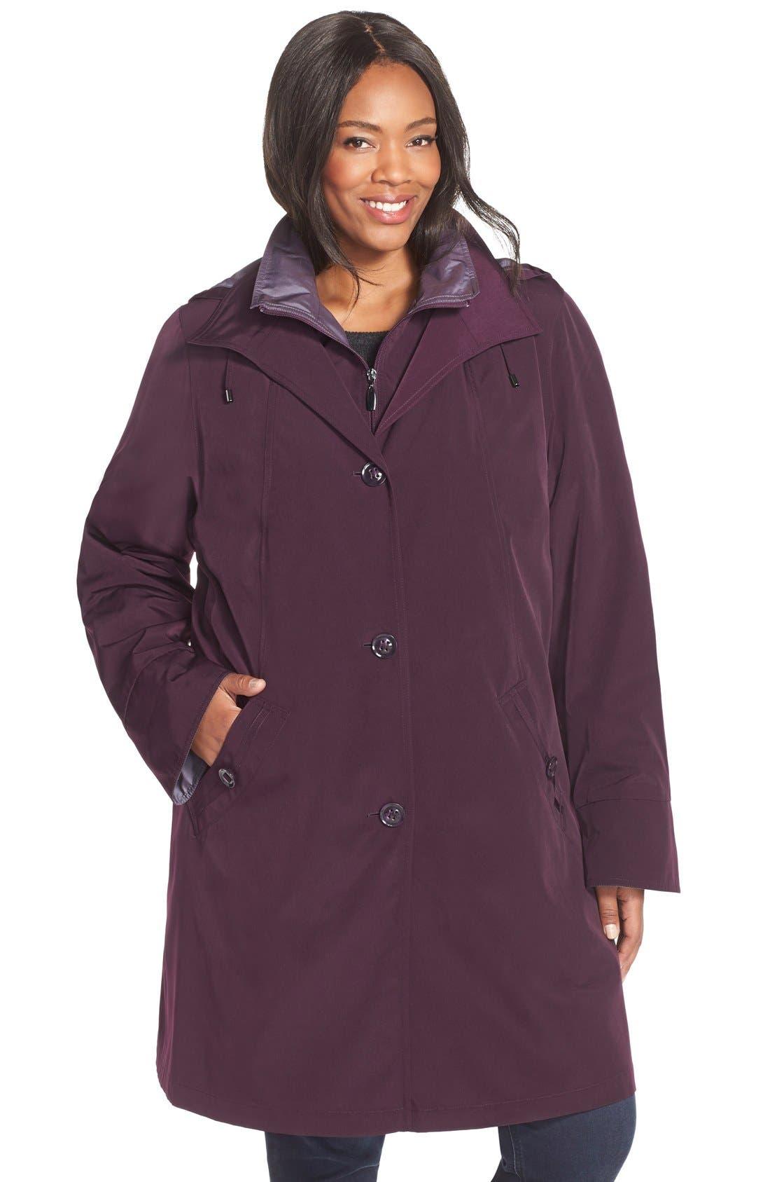 Two-Tone Long Silk Look Raincoat,                         Main,                         color, Blackberry/ Iced Plum