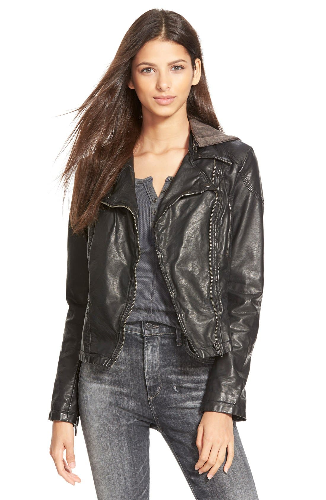 Hooded Faux Leather Moto Jacket,                             Main thumbnail 1, color,                             Black