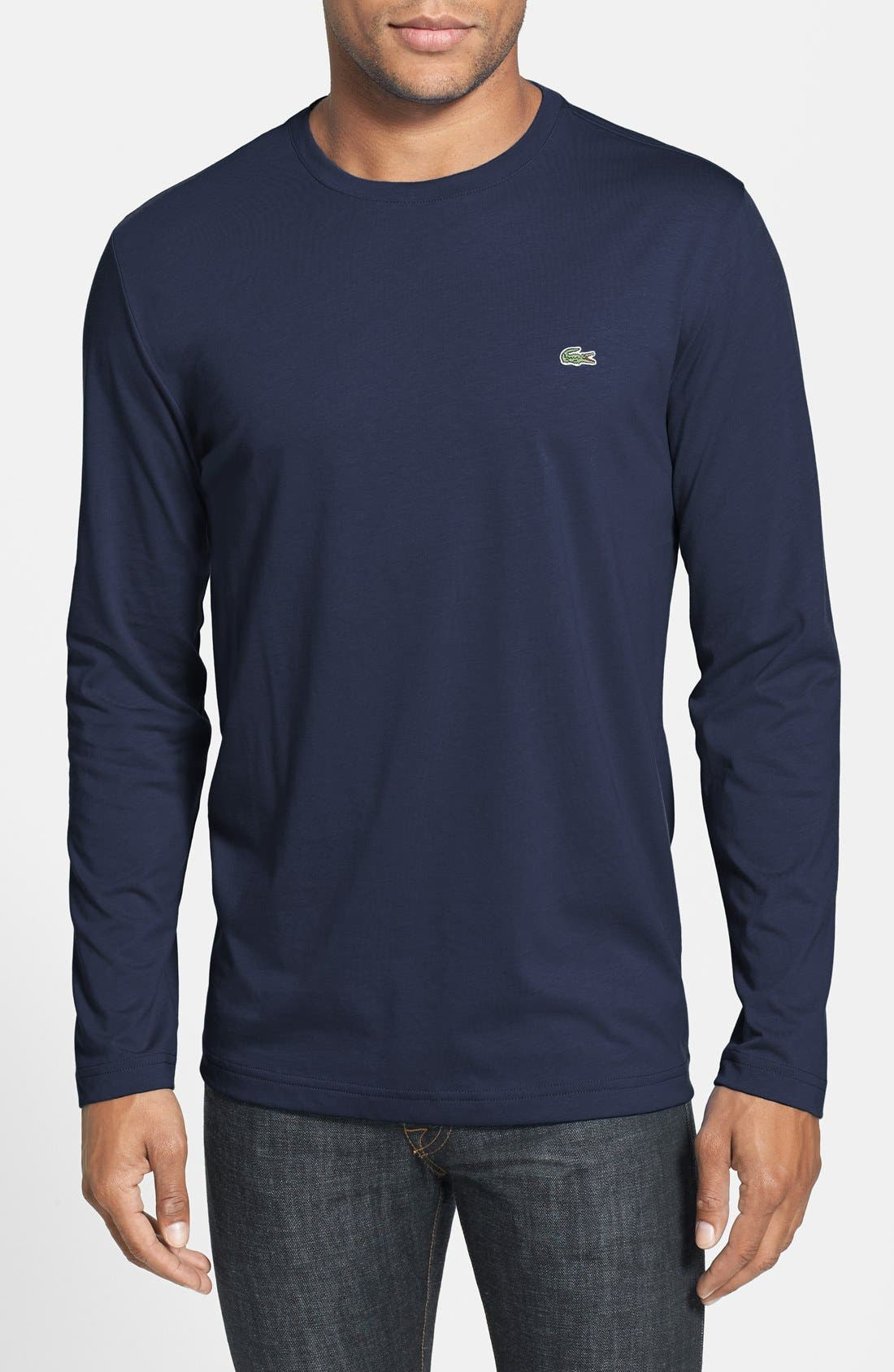 Alternate Image 1 Selected - Lacoste Long Sleeve Pima Cotton T-Shirt
