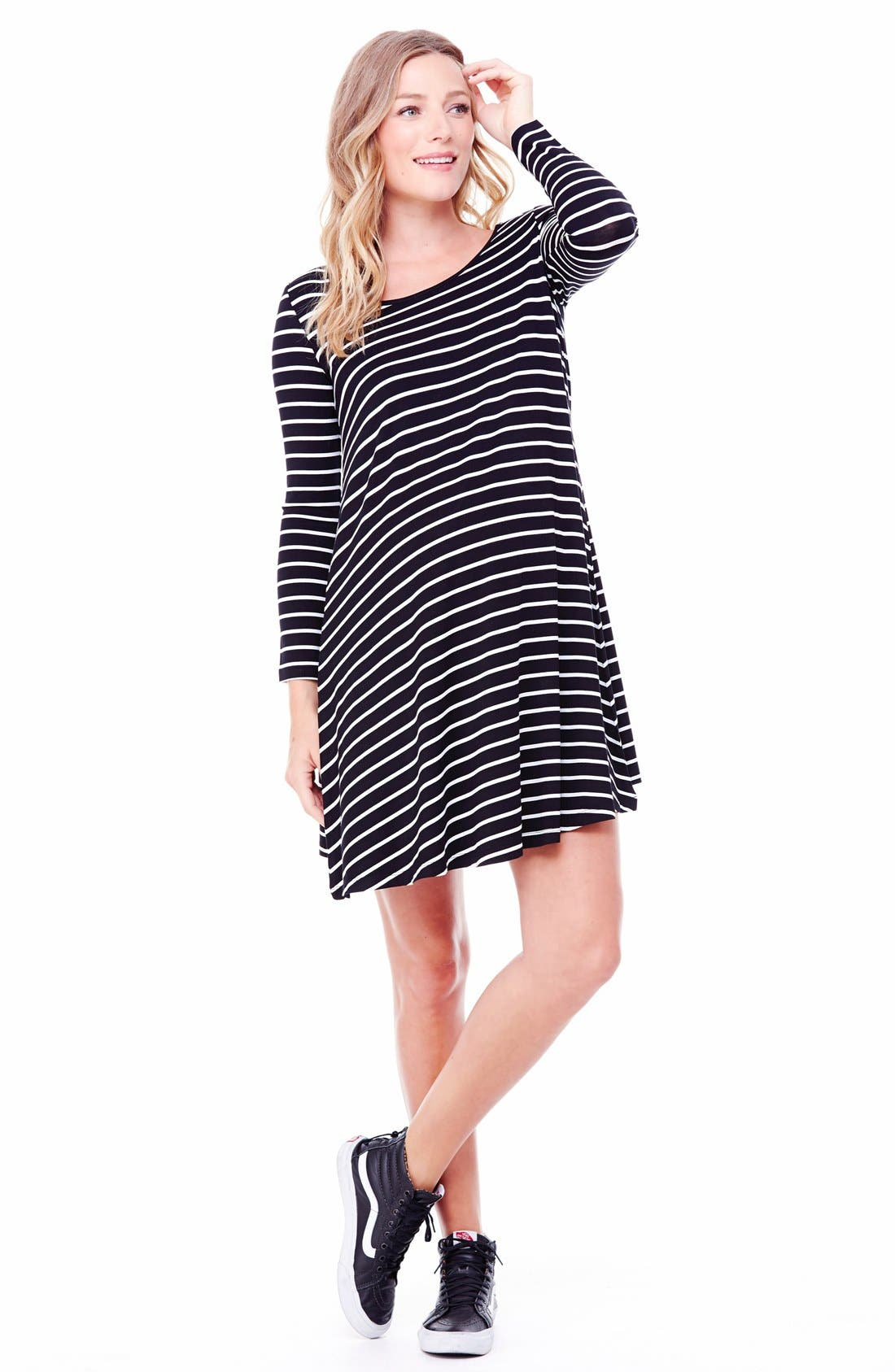 Striped Maternity Trapeze Dress,                         Main,                         color, Jet Black/ White Stripe