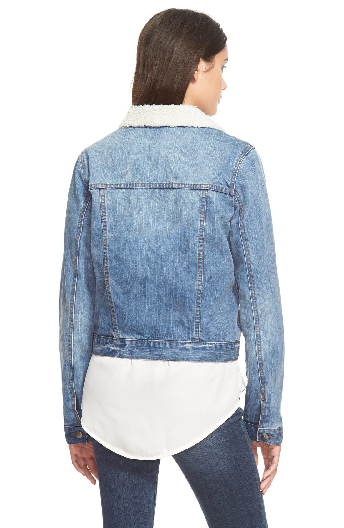 'Santa Fe' Denim Jacket,                             Alternate thumbnail 3, color,                             Blue