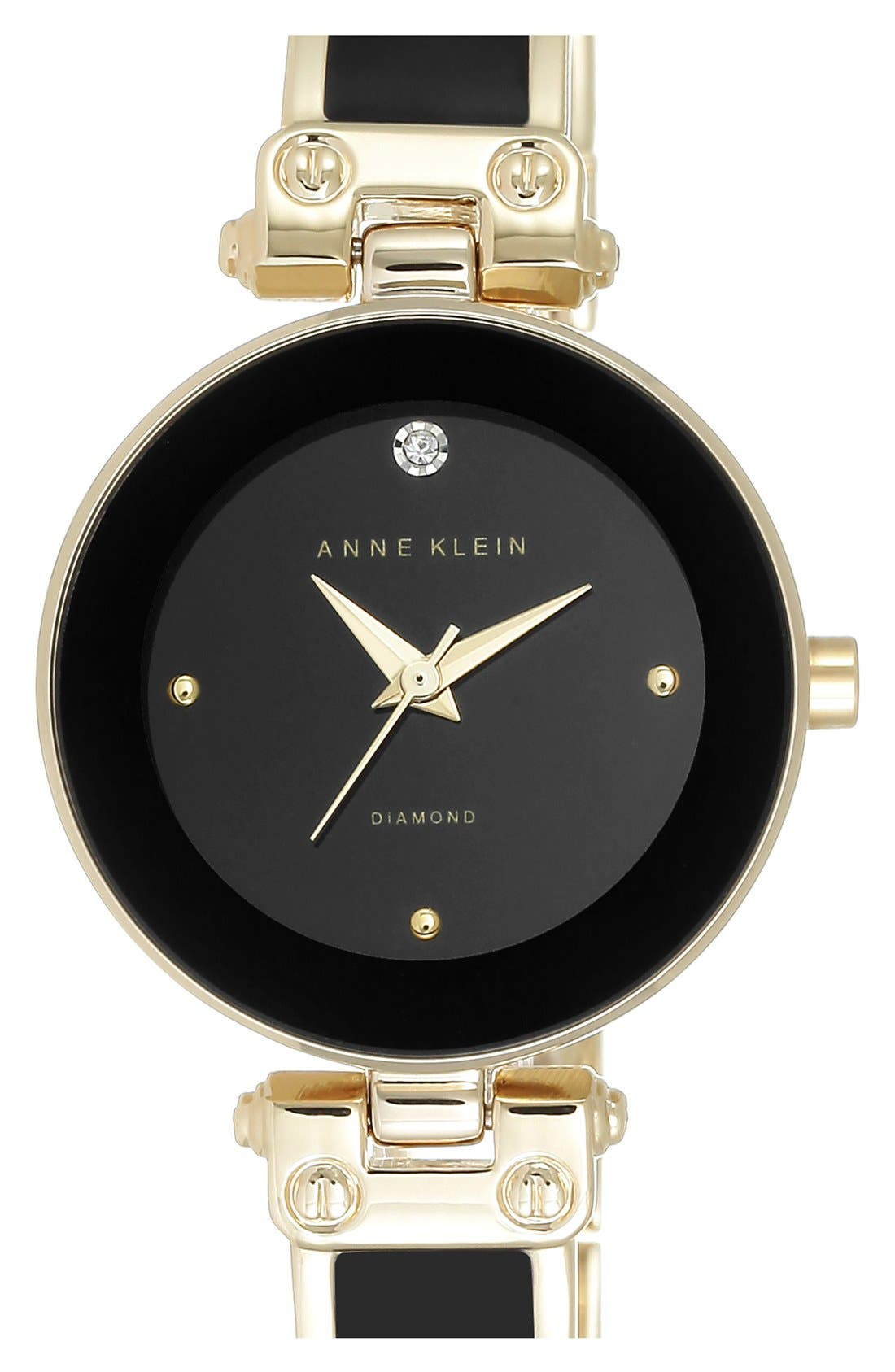 ANNE KLEIN Diamond Marker Bangle Watch, 28Mm in Black/ Gold