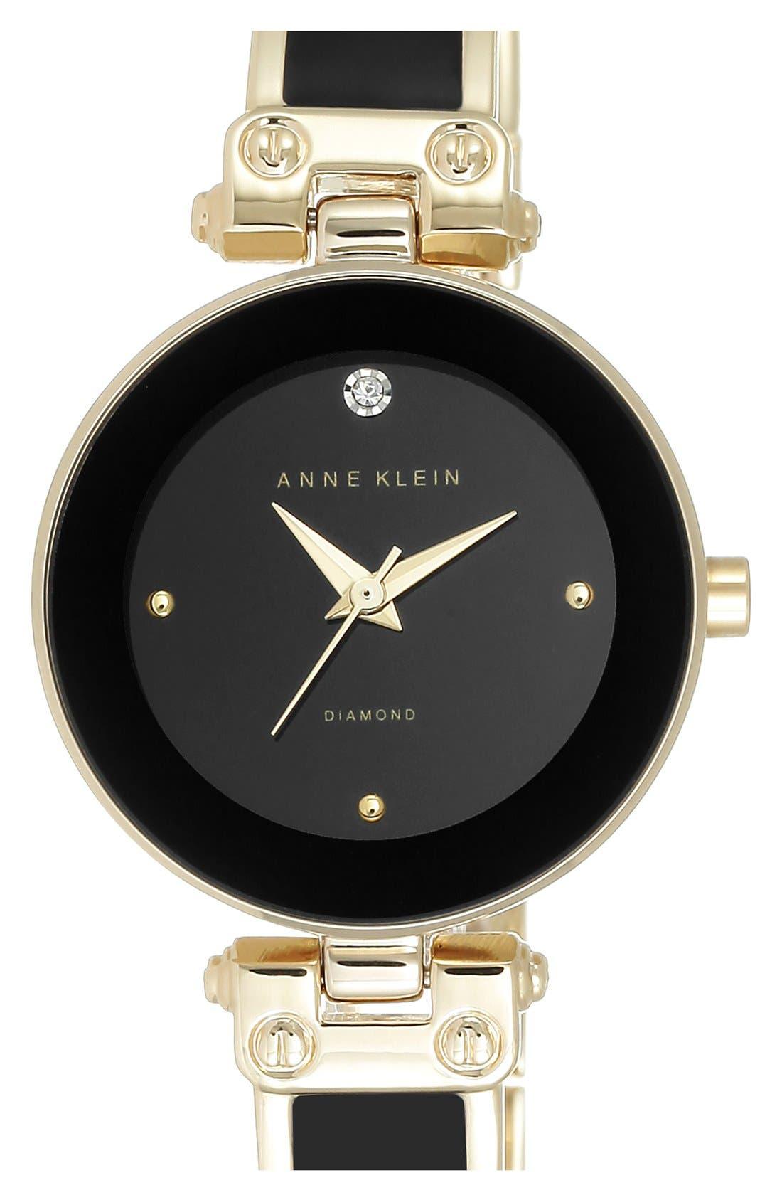 Diamond Marker Bangle Watch, 28mm,                         Main,                         color, Black/ Gold