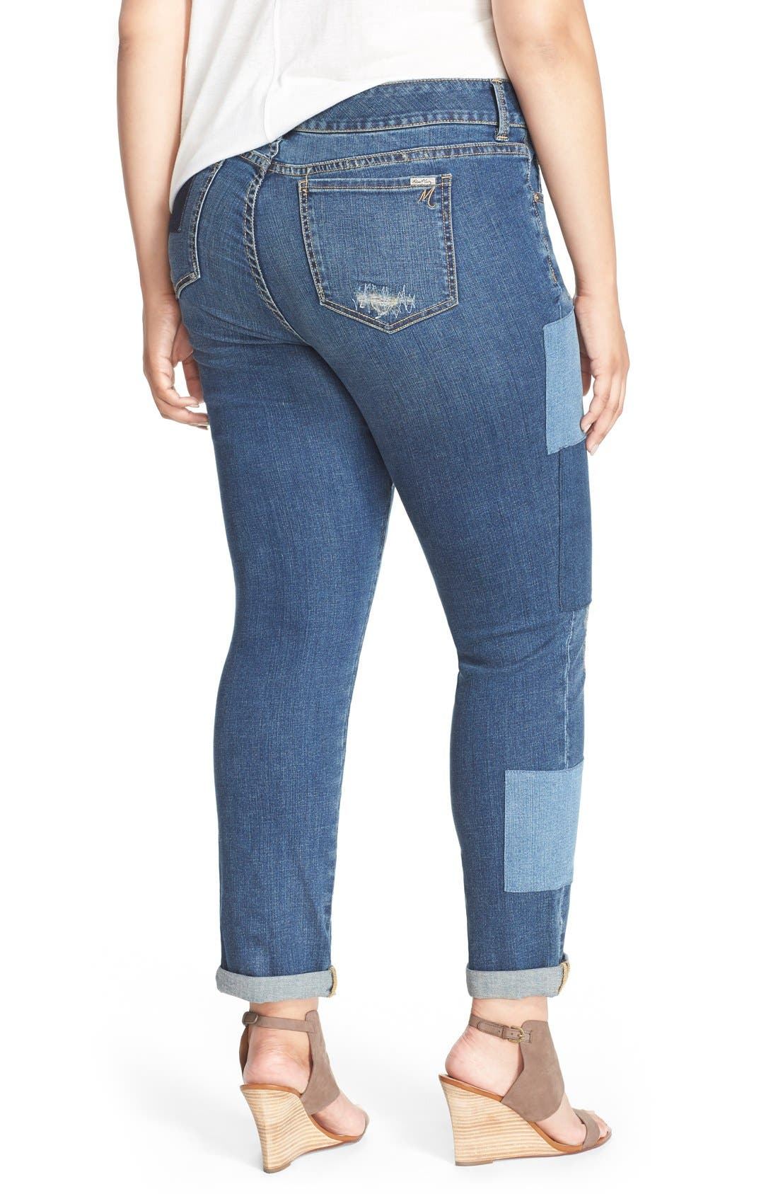 Alternate Image 2  - Melissa McCarthy Seven7 Patch Detail Roll Cuff Girlfriend Jeans (Plus Size)