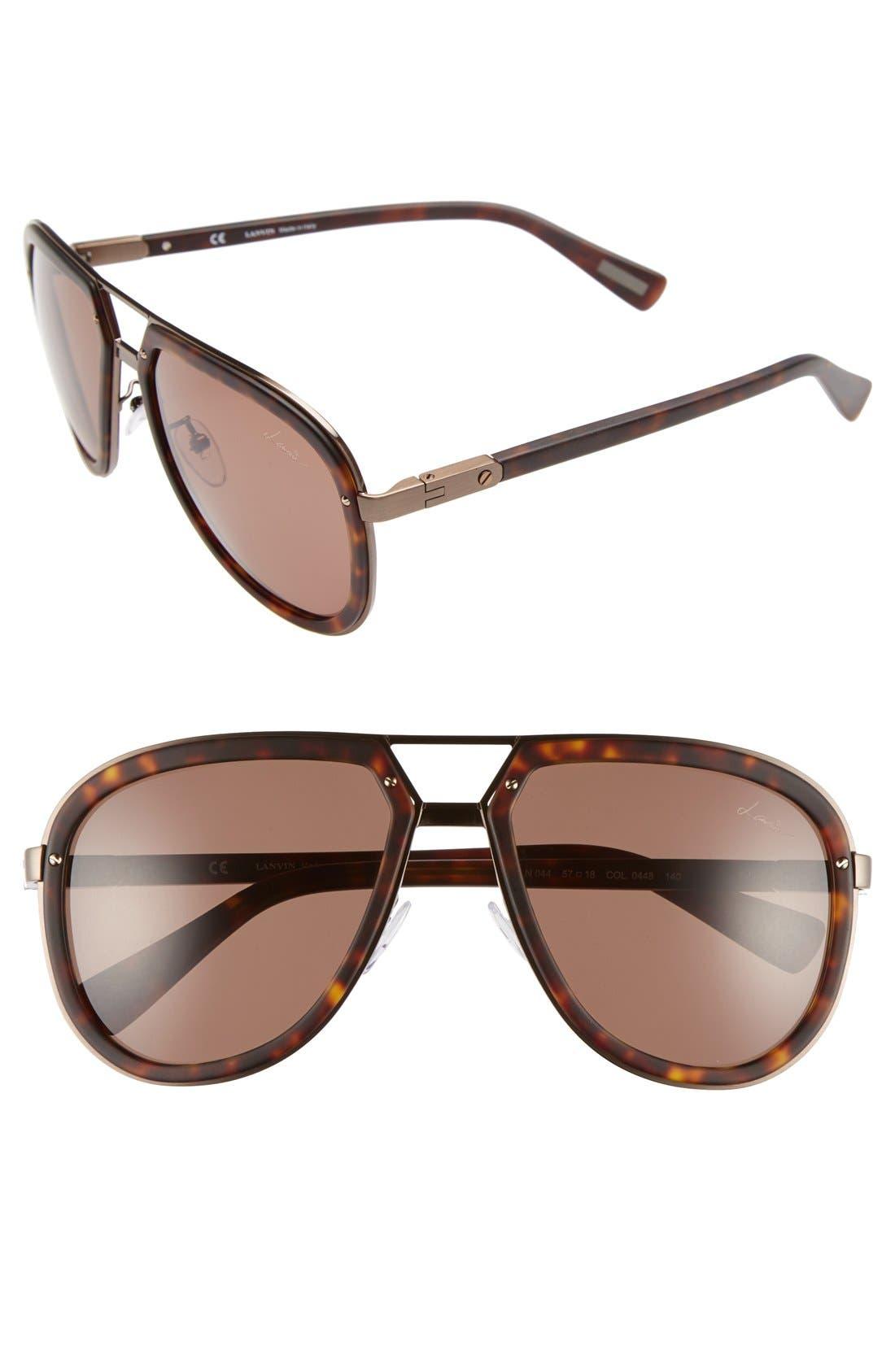 Aviator Sunglasses,                             Main thumbnail 1, color,                             Dark Havana/ Brown