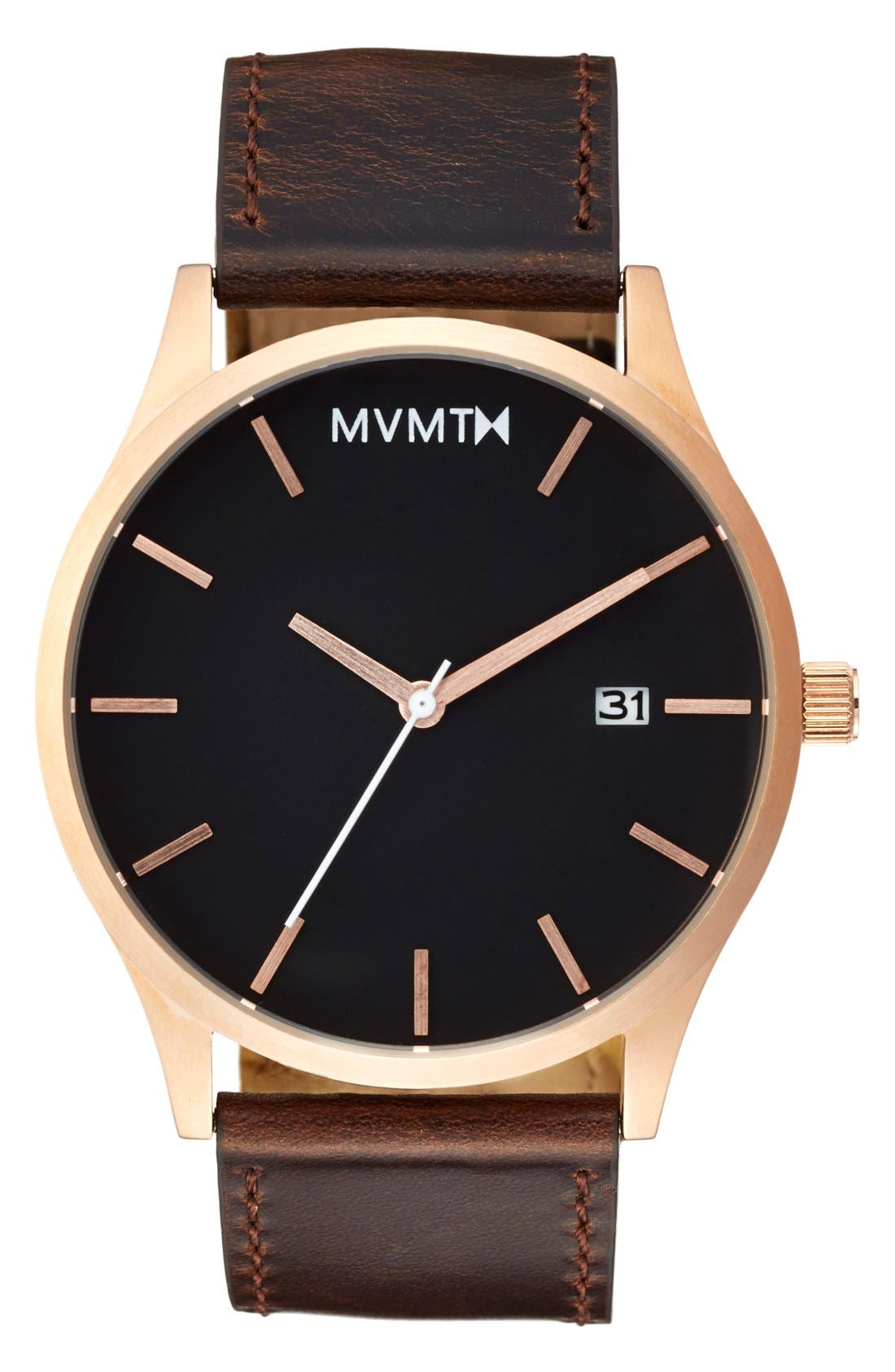 Leather Strap Watch, 45mm,                             Main thumbnail 1, color,                             Brown/ Rose Gold