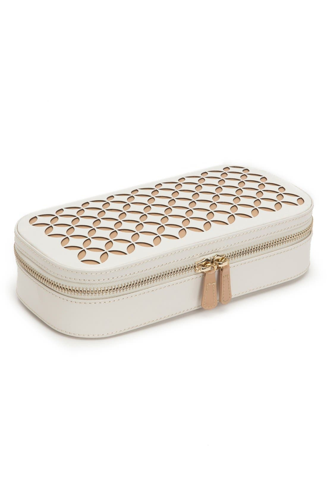 'Chloe' Zip Jewelry Case,                             Alternate thumbnail 2, color,                             Cream