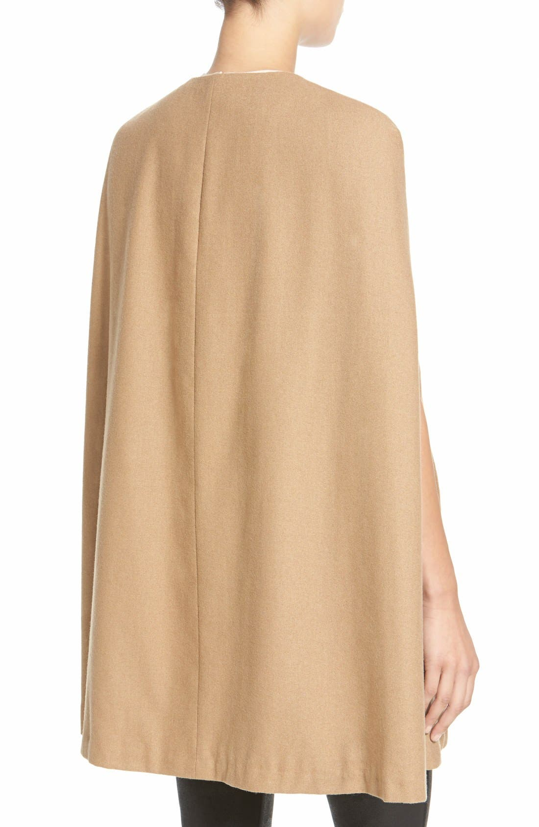 Collarless Woven Cape,                             Alternate thumbnail 2, color,                             Beige