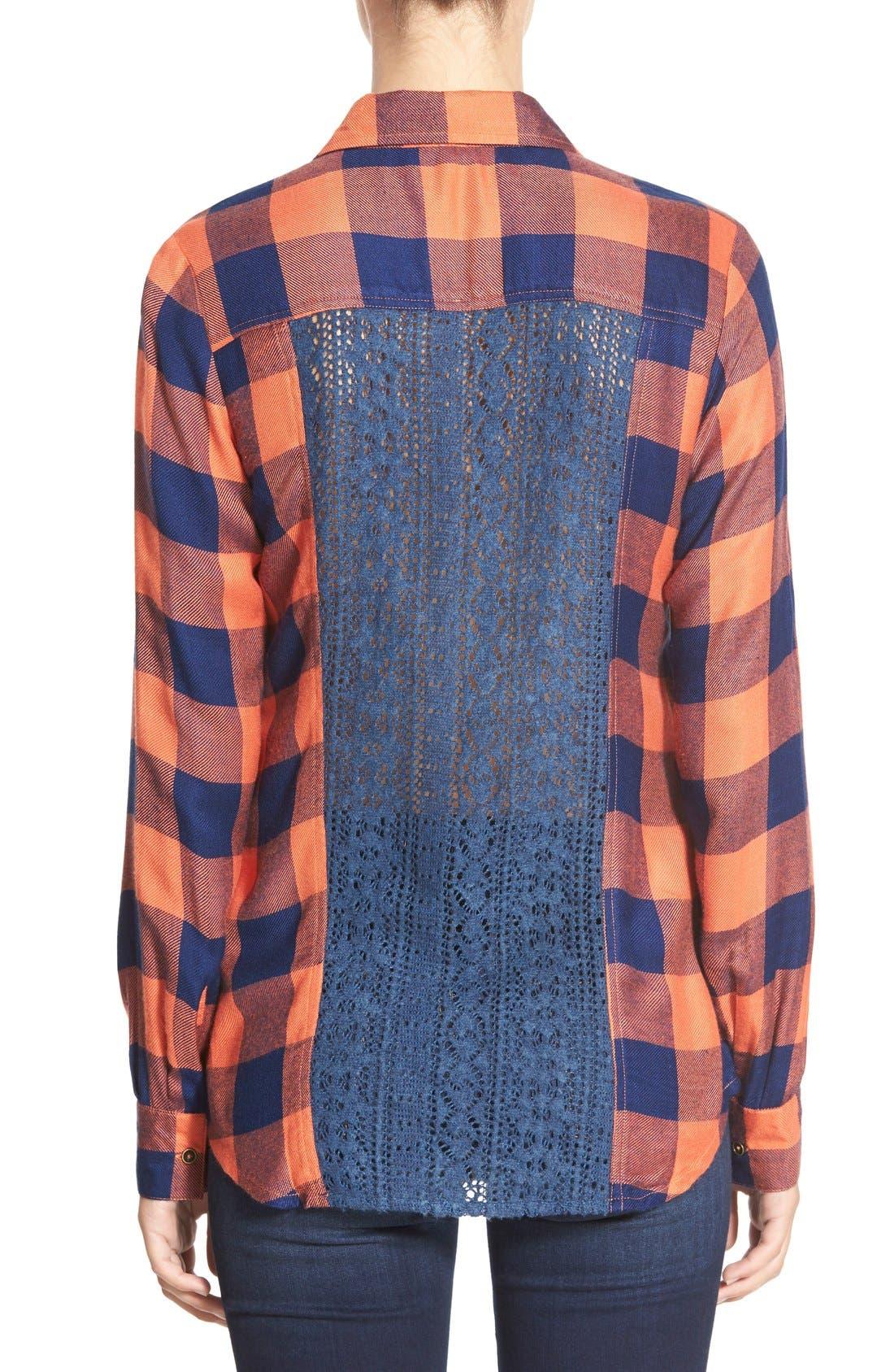 Alternate Image 2  - Rip Curl 'Dweller' Lace Back Flannel Shirt