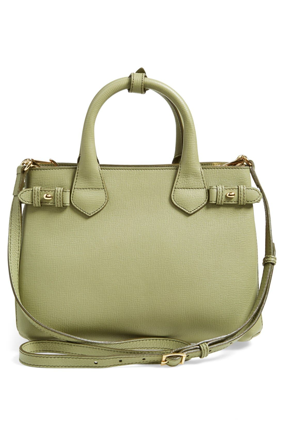 'Small Banner' Leather Tote,                             Alternate thumbnail 3, color,                             Pale Pistachio Green