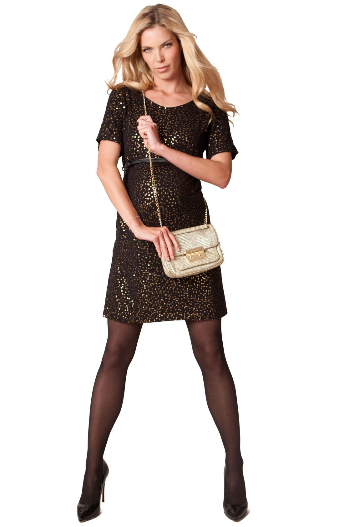 'Luella Luxe'  Jersey Maternity Dress,                             Alternate thumbnail 2, color,                             Black/ Gold