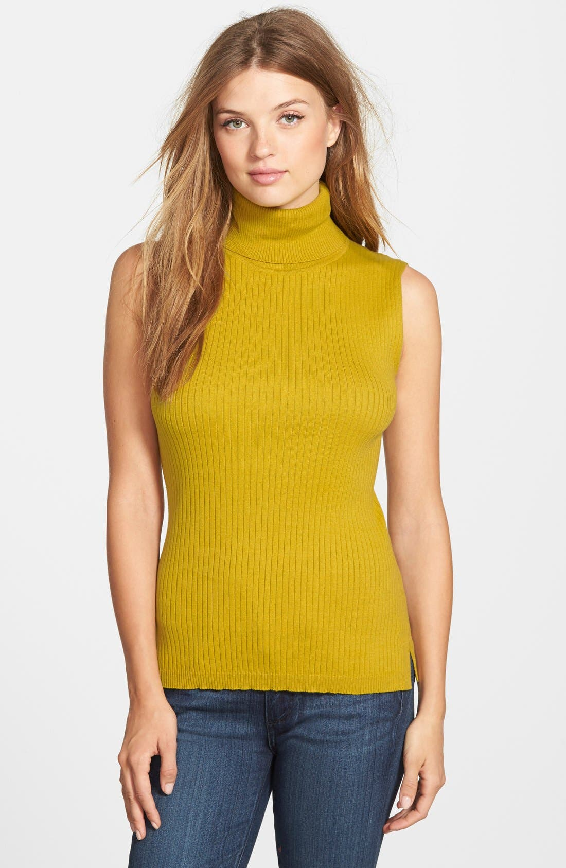 Alternate Image 1 Selected - Vince Camuto Sleeveless Ribbed Turtleneck Sweater (Regular & Petite)