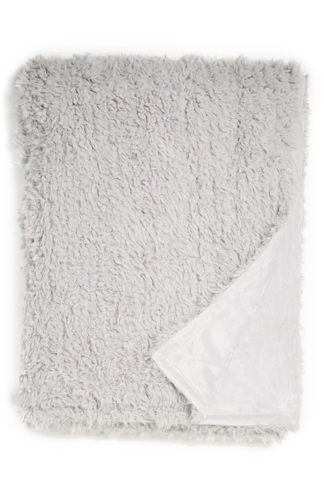 'Shaggy Plush' Faux Fur Blanket,                         Main,                         color, Grey Vapor