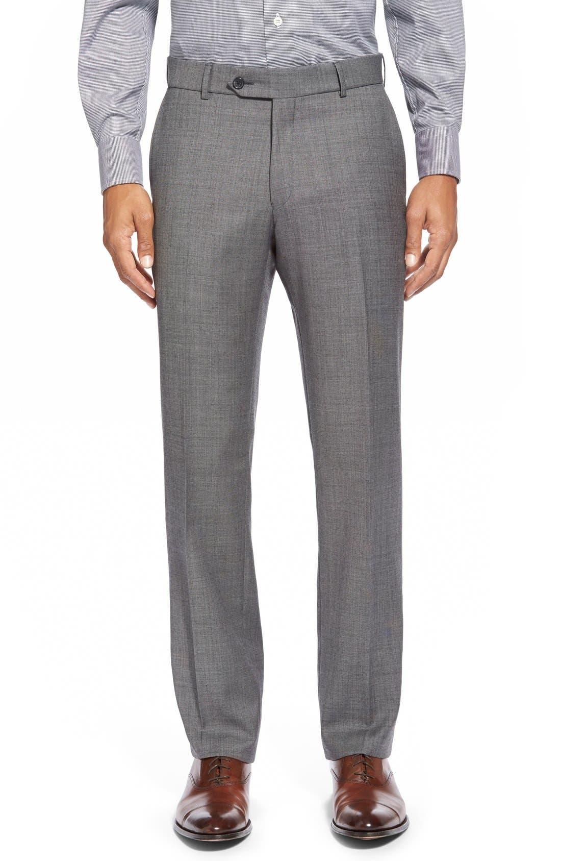 BALLIN Flat Front Sharkskin Wool Trousers in Mid Grey