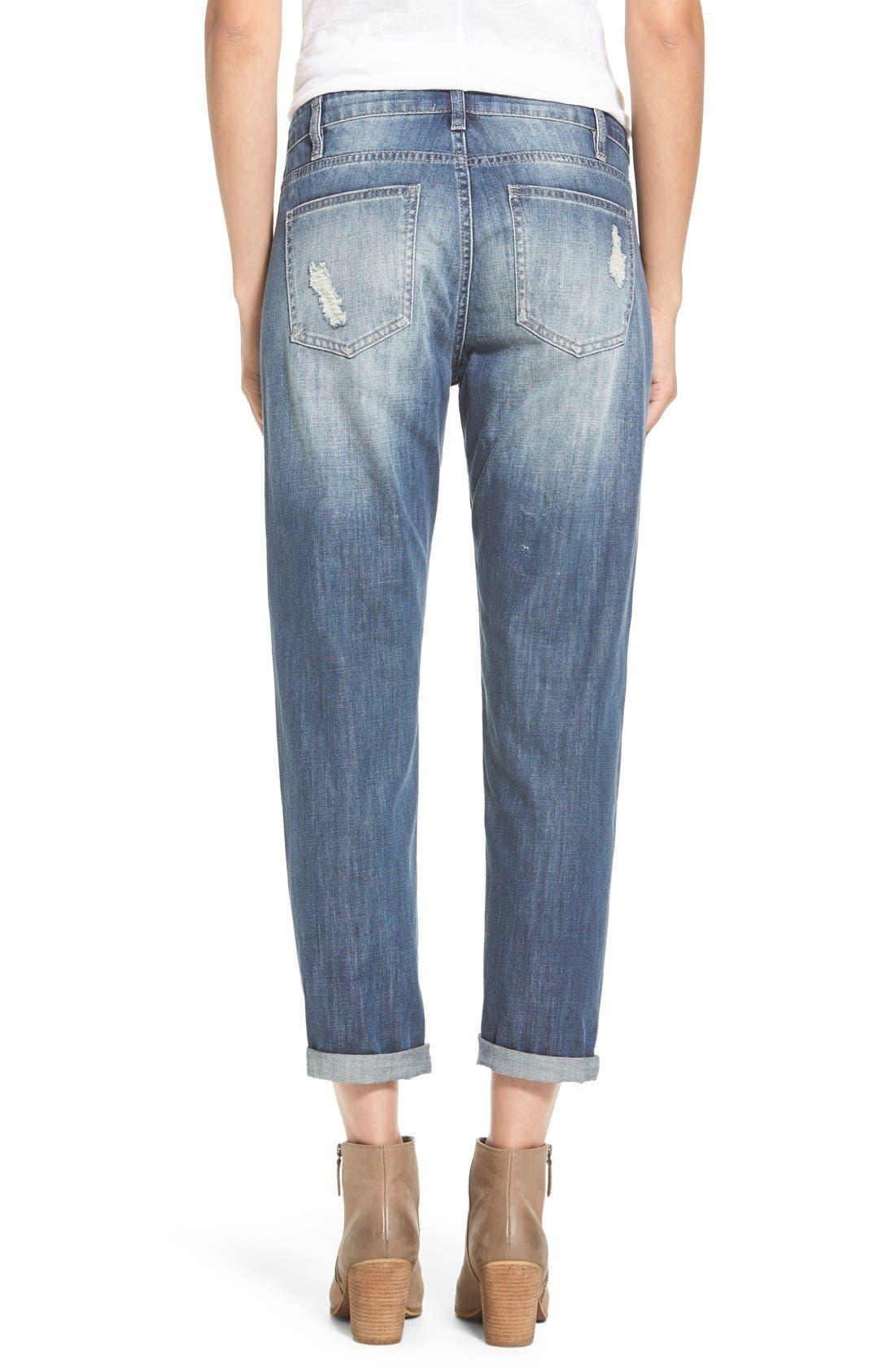 Alternate Image 2  - OnTwelfth 'Stevie'Distressed BoyfriendJeans (Tahoe Dark Wash)