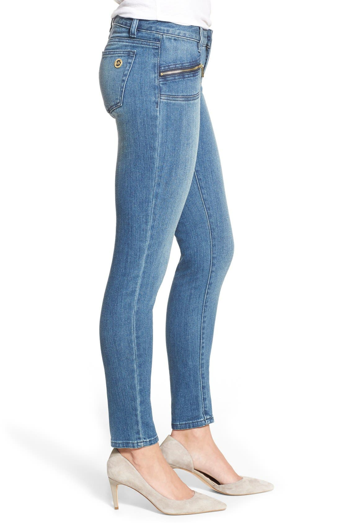 Alternate Image 3  - MICHAEL Michael KorsStretch Zip Pocket Ankle Skinny Jeans(Veruschka)
