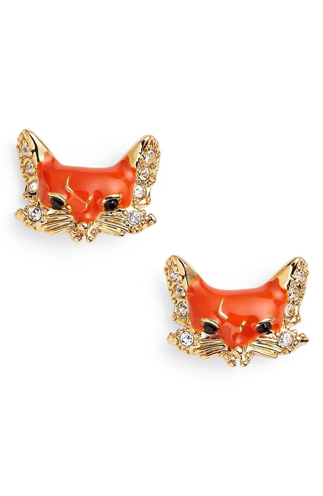 katespade new yorkfox stud earrings,                             Main thumbnail 1, color,                             Orange Multi