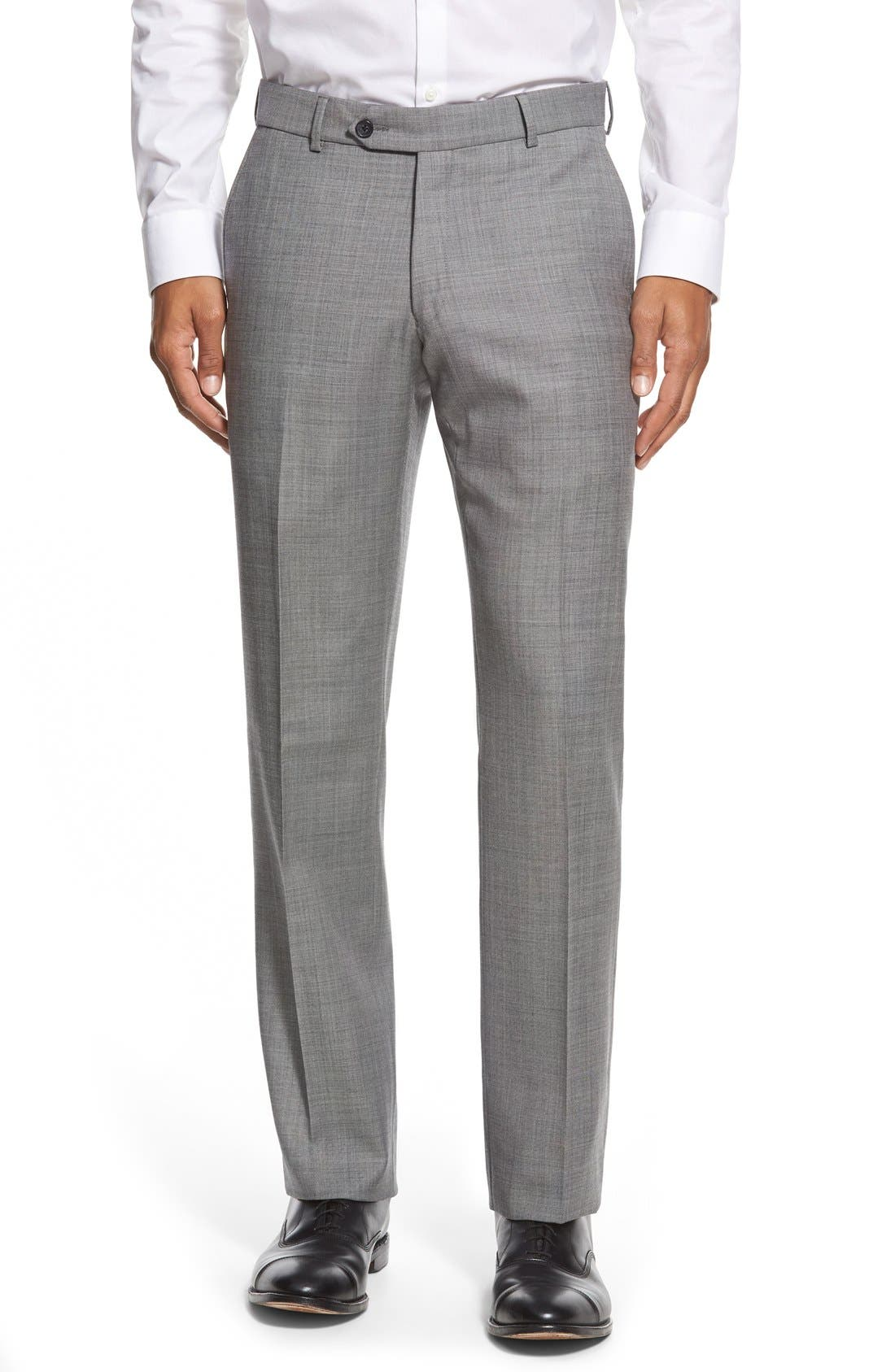 BALLIN Flat Front Sharkskin Wool Trousers in Black/White
